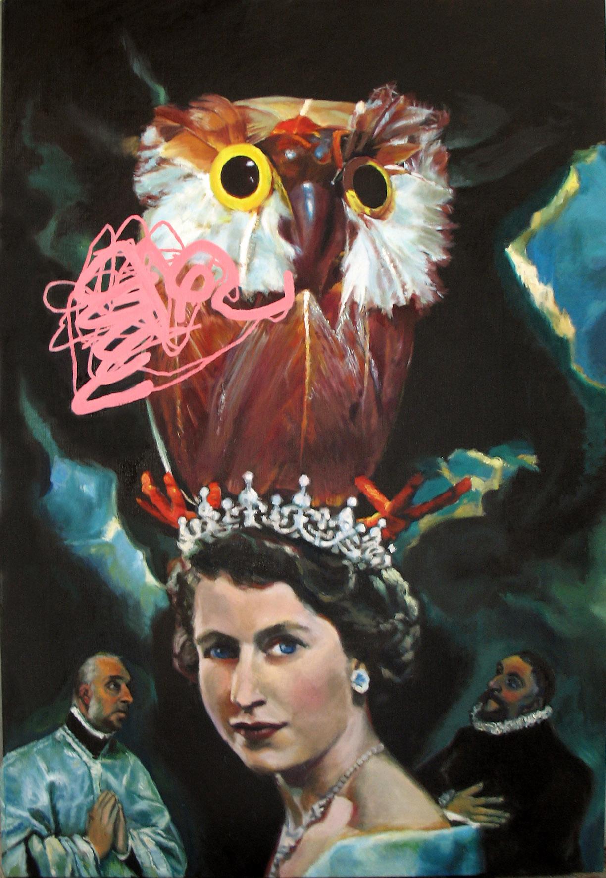 Chris Aerfeldt 'Brave Owl gets his toes stuck in Lizzie's crown' 165 x 114 cm