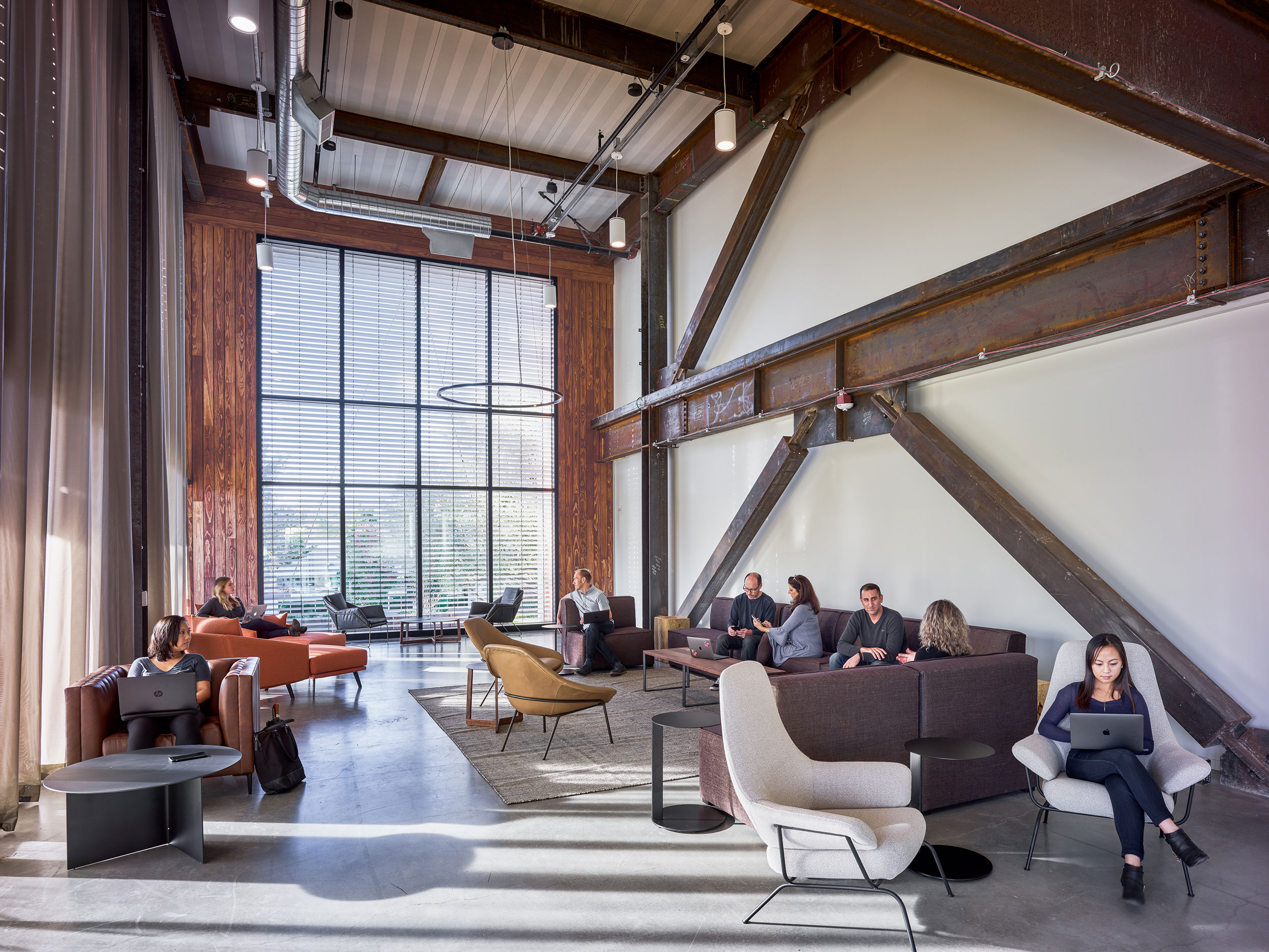 """A second-story lounge in the south-facing """"buzz"""" zone offers an alternative working environment."""