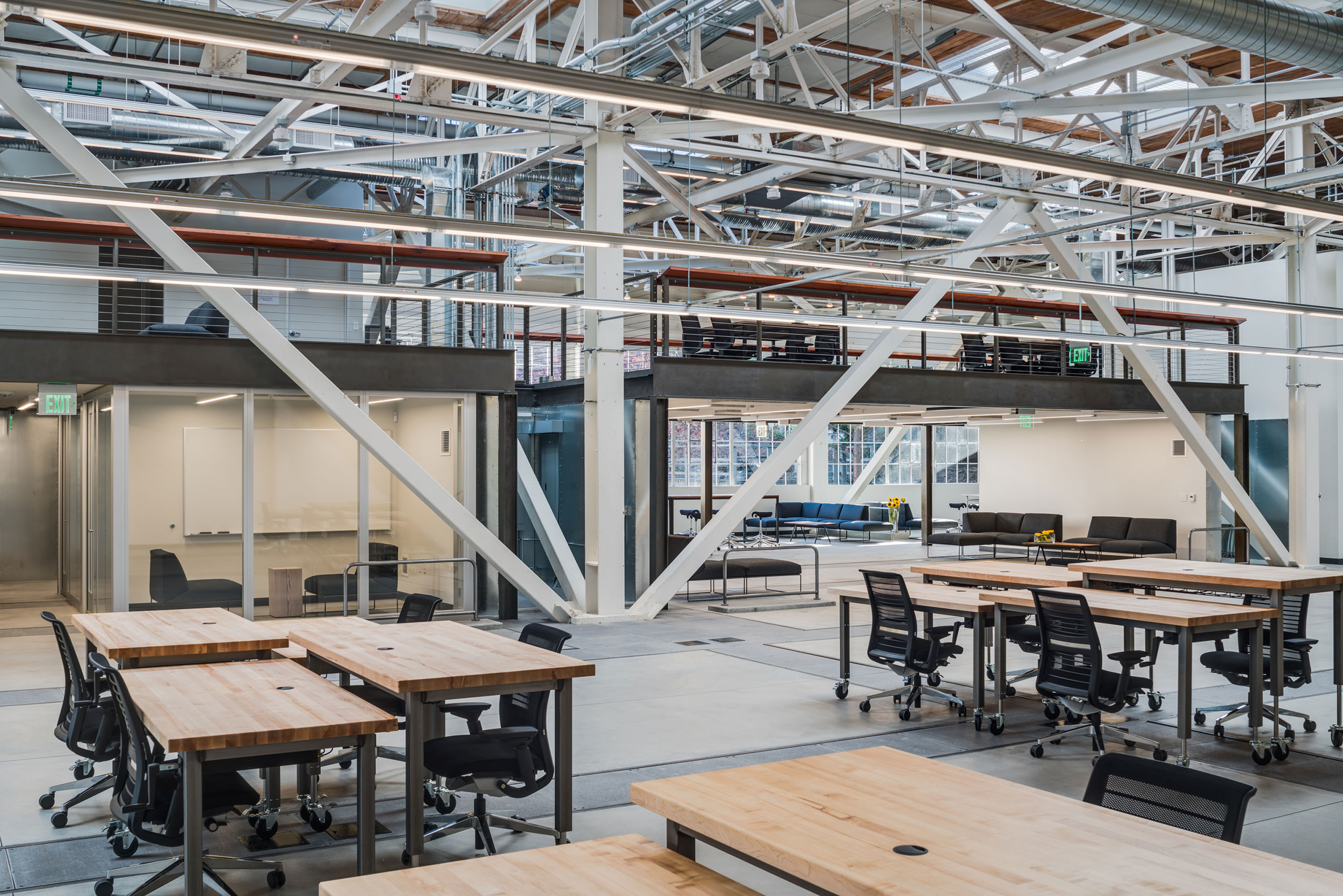 San Francisco Workplace, Office, Adaptive Reuse, Tech Company, Open Workspace, Flexible Office, Natural Light, Steel Truss, Flexible Meeting Rooms
