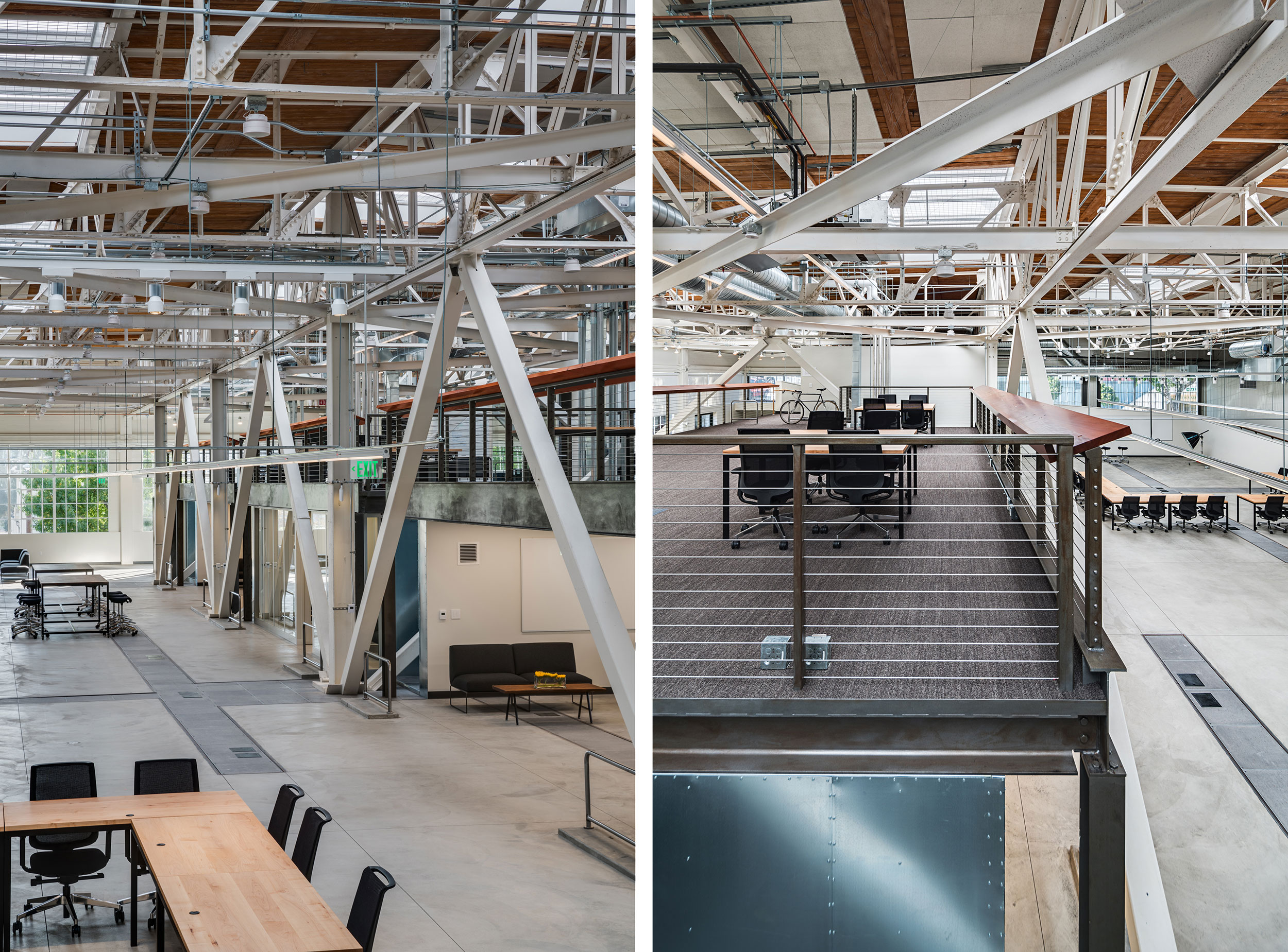 San Francisco Workplace, Office, Adaptive Reuse, Tech Company, Open Workspace, Flexible Office, Natural Light, Steel Details, Wood Ceiling, System Integration