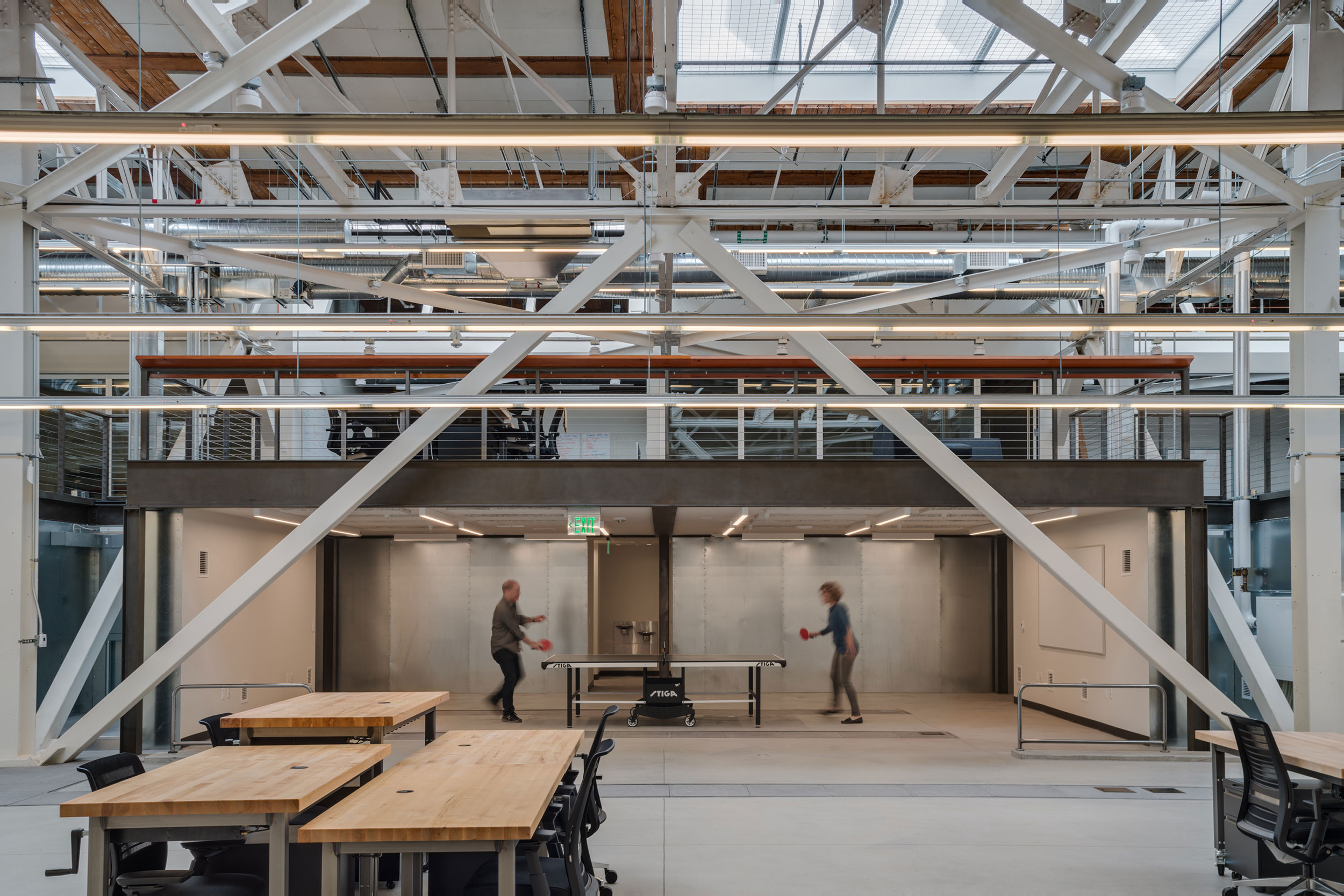 San Francisco Workplace, Office, Adaptive Reuse, Tech Company, Open Workspace, Flexible Office, Natural Light, Steel Truss, Ping Pong, Game Room, Mezzanine