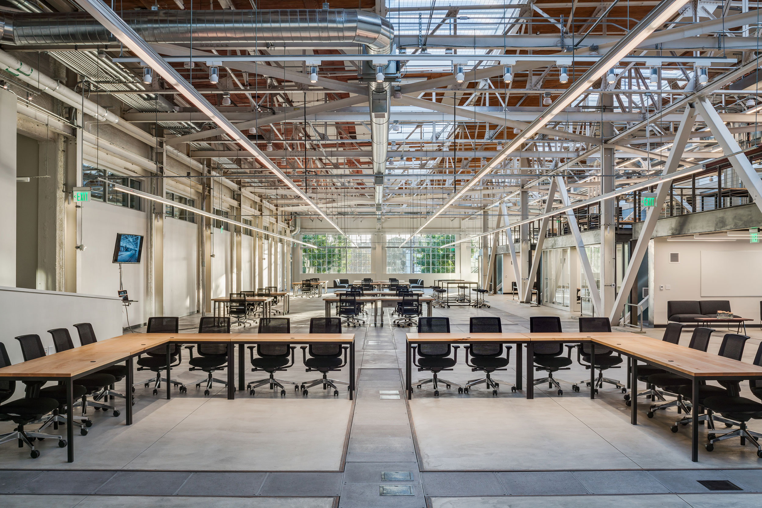 San Francisco Workplace, Office, Adaptive Reuse, Tech Company, Open Workspace, Flexible Office, Natural Light, Steel Truss