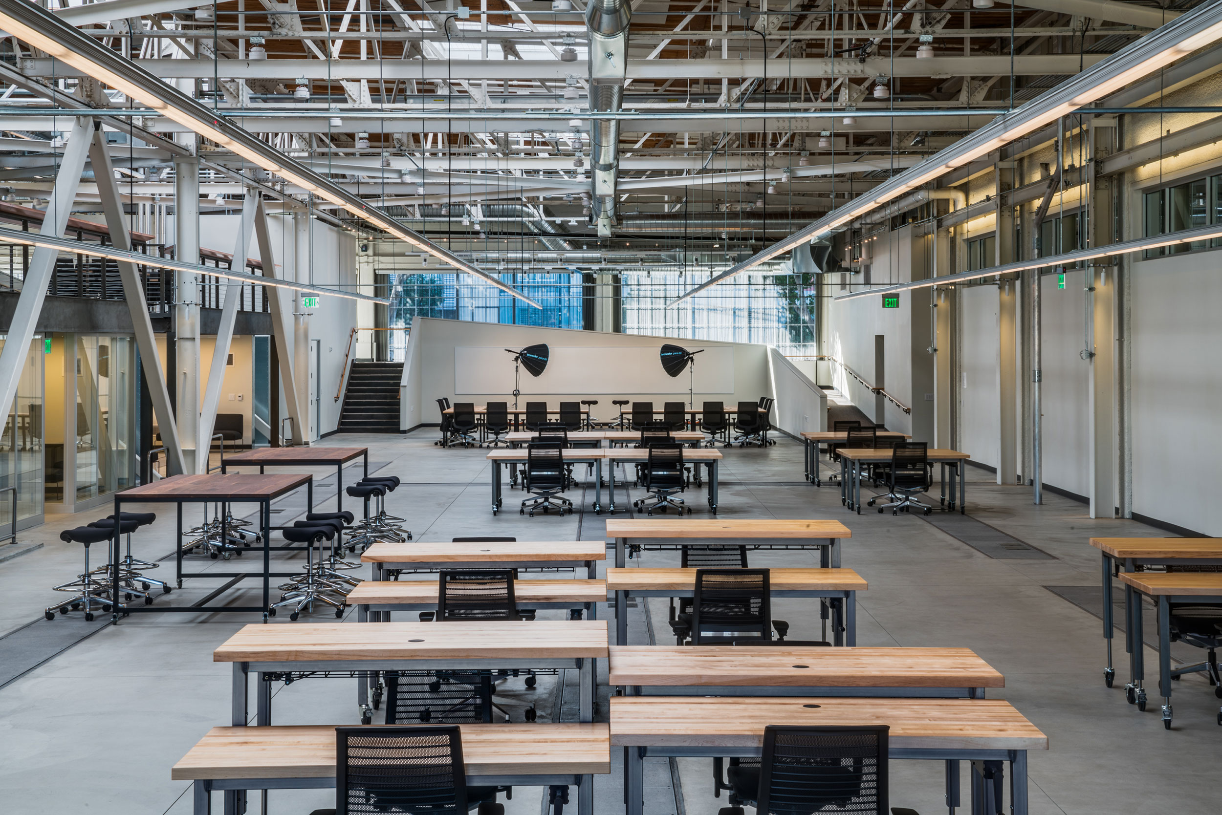 San Francisco Workplace, Office, Adaptive Reuse, Tech Company, Open Workspace, Flexible Office, Natural Light, Adjustable Desks, Industrial Design