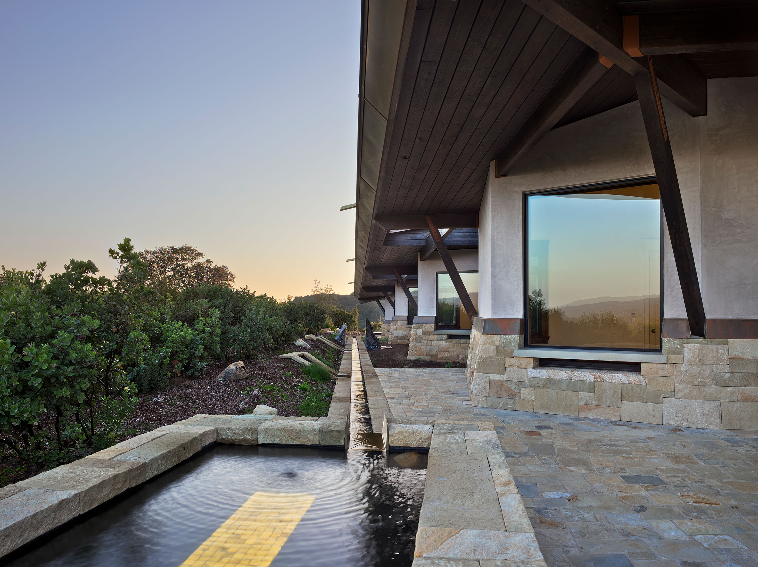 California Residence, House, Sustainability, Roof, Rainwater Collection, Natural Materials, Stone, Wood, Views