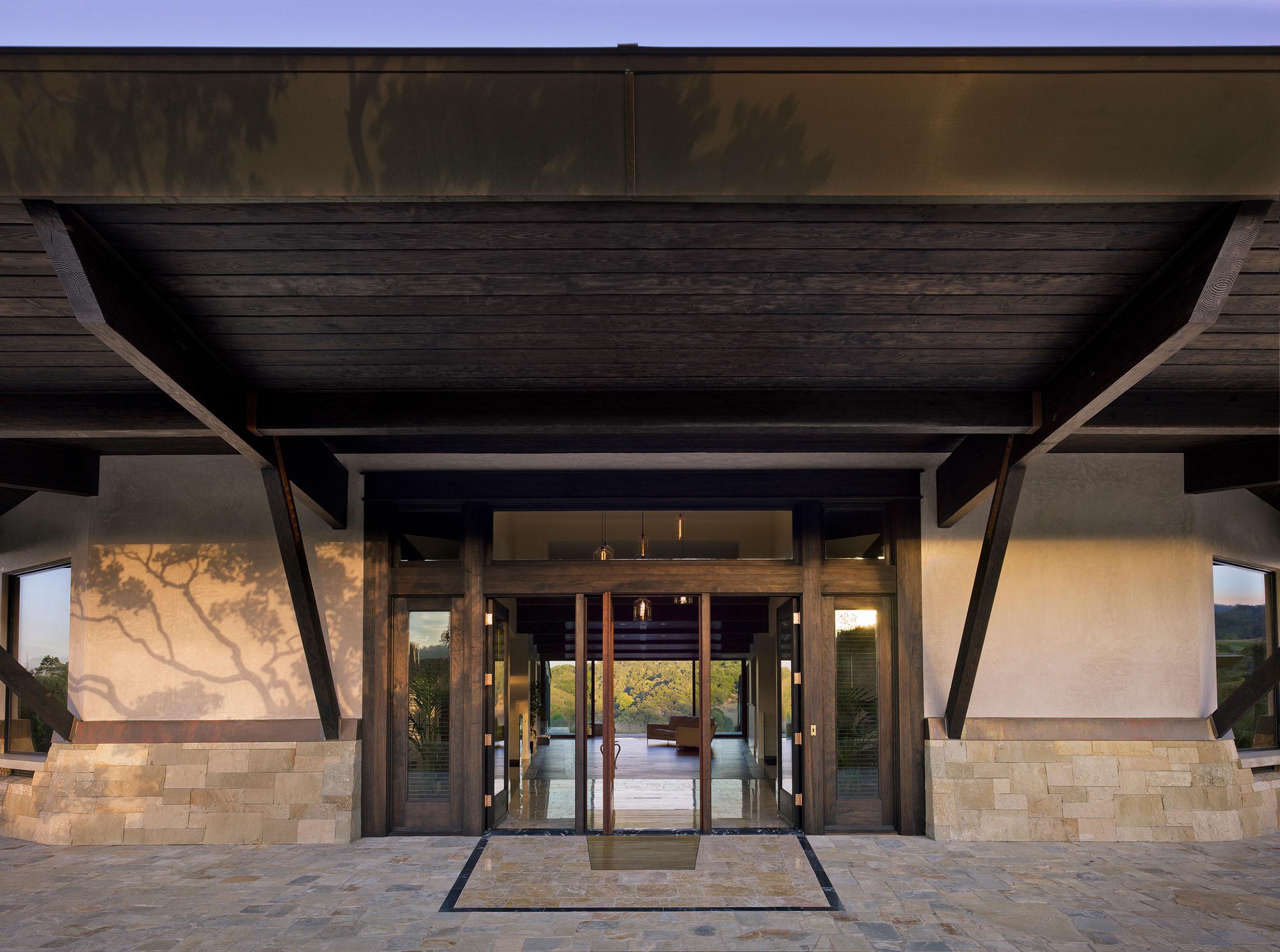 California Residence, House, Sustainability, Wood, Stone, Copper