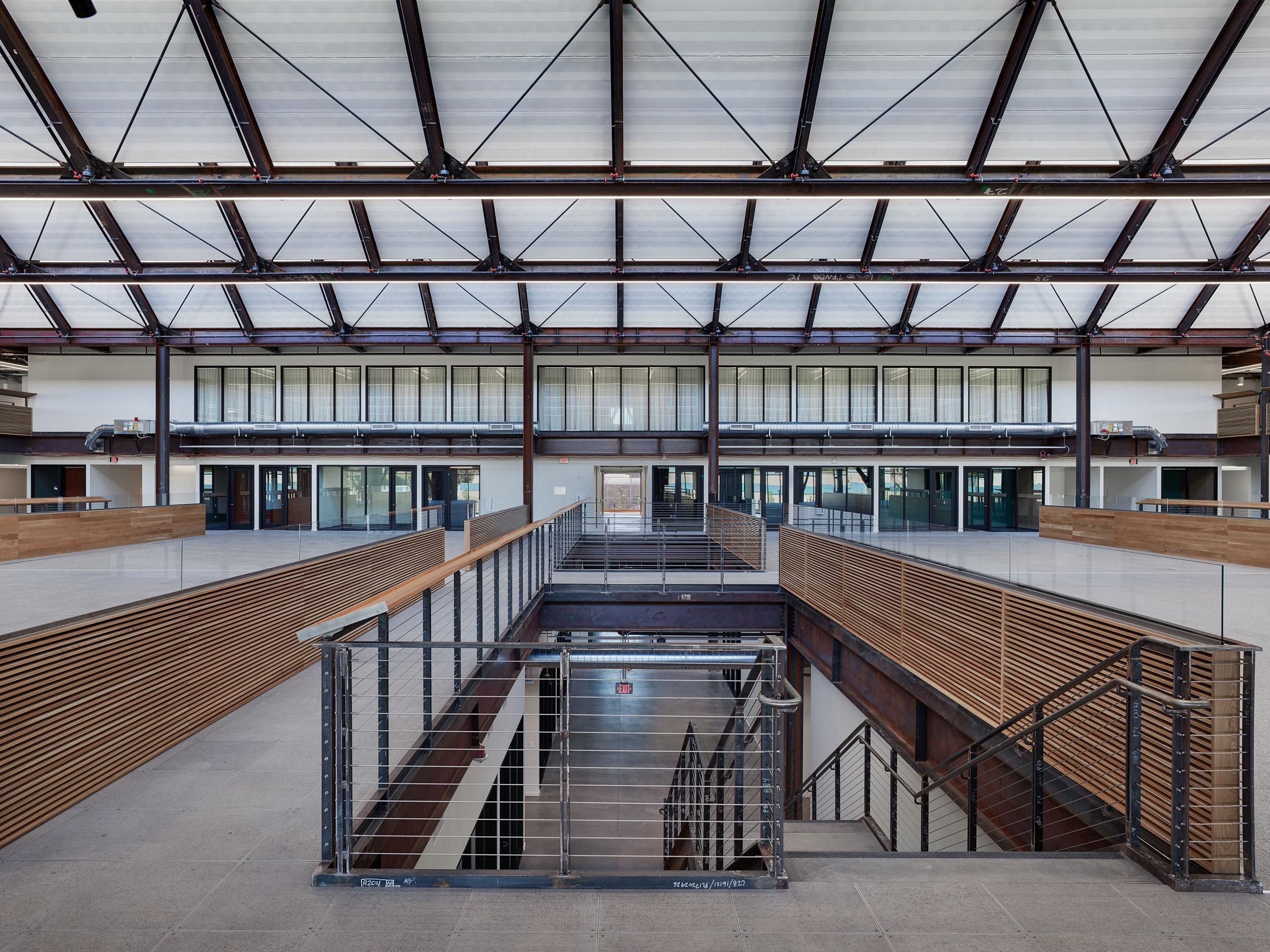 Google at 1212 Bordeaux, Truss, Skylights, Sky, Views, Natural Light, Concrete, Portal Stair, Wood, Acoustics