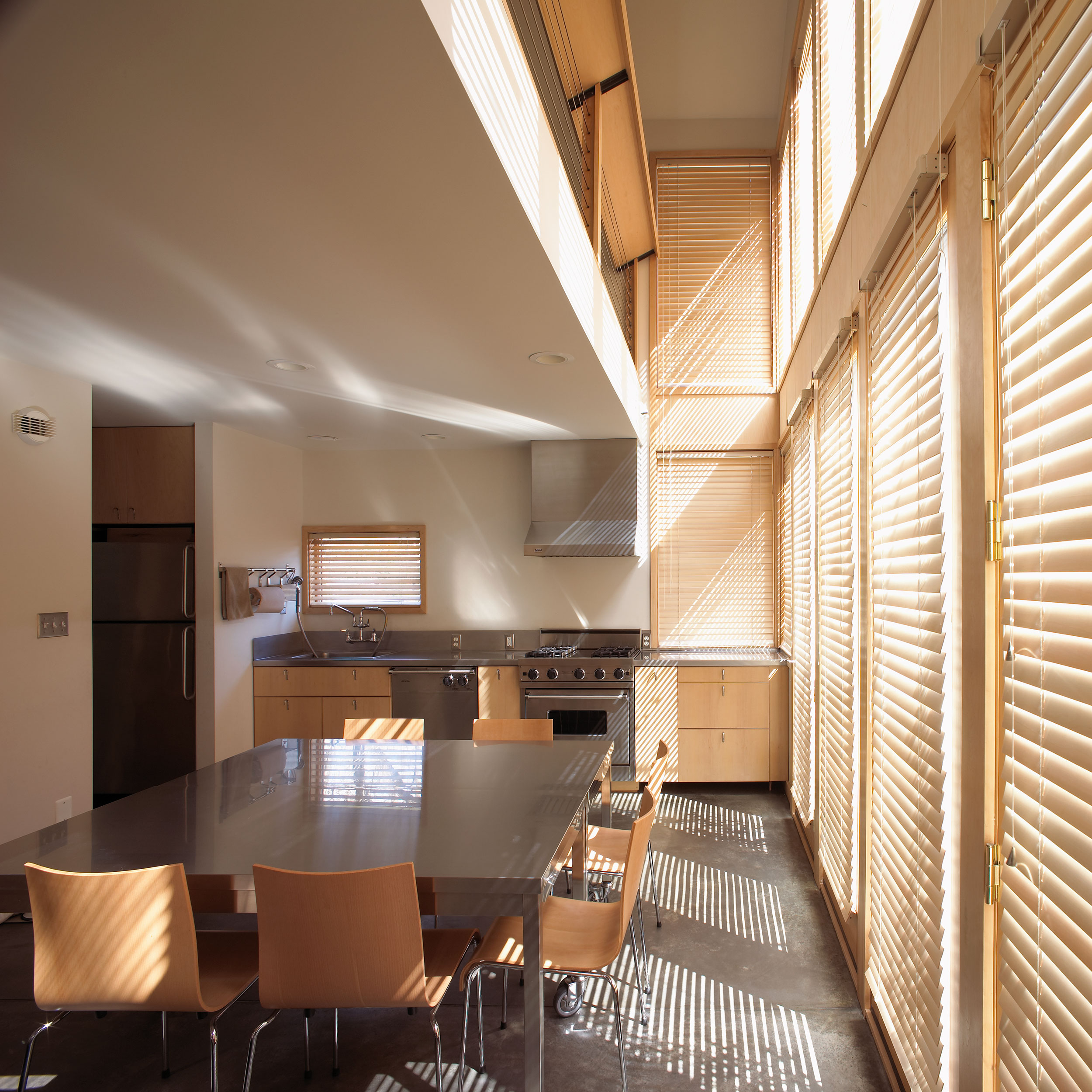 Timepiece, House, Charlottesville, Virginia, Light, Human Experience, Economical, Wood, Concrete, Stainless Steel, Blinds, Balcony