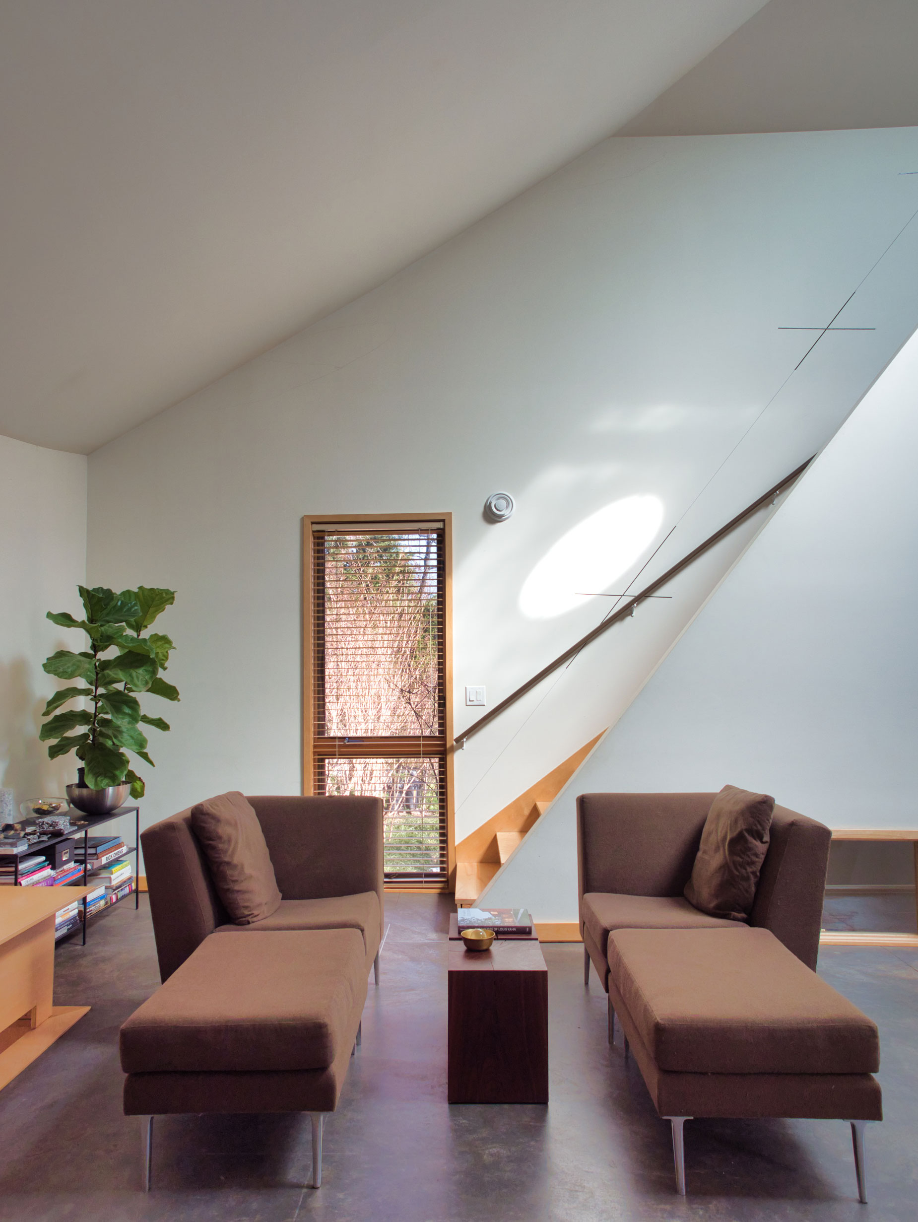 Timepiece, House, Charlottesville, Virginia, Observatory, Living Room, Blinds, Light, Stair, Natural Materials, Economical