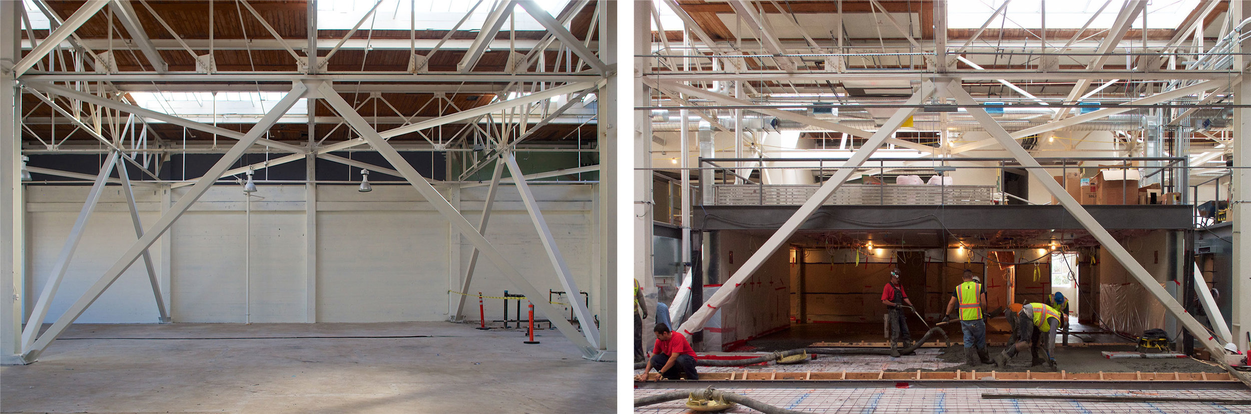 San Francisco Workplace, Office, Adaptive Reuse, Tech Company, Before After, Construction, Steel