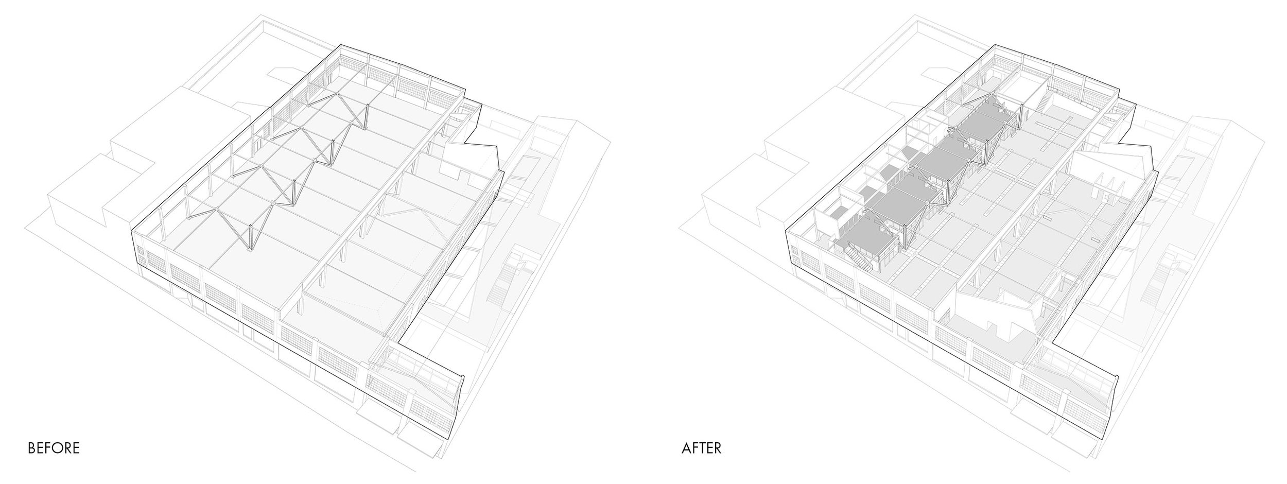 San Francisco Workplace, Office, Adaptive Reuse, Tech Company, Before After Diagram