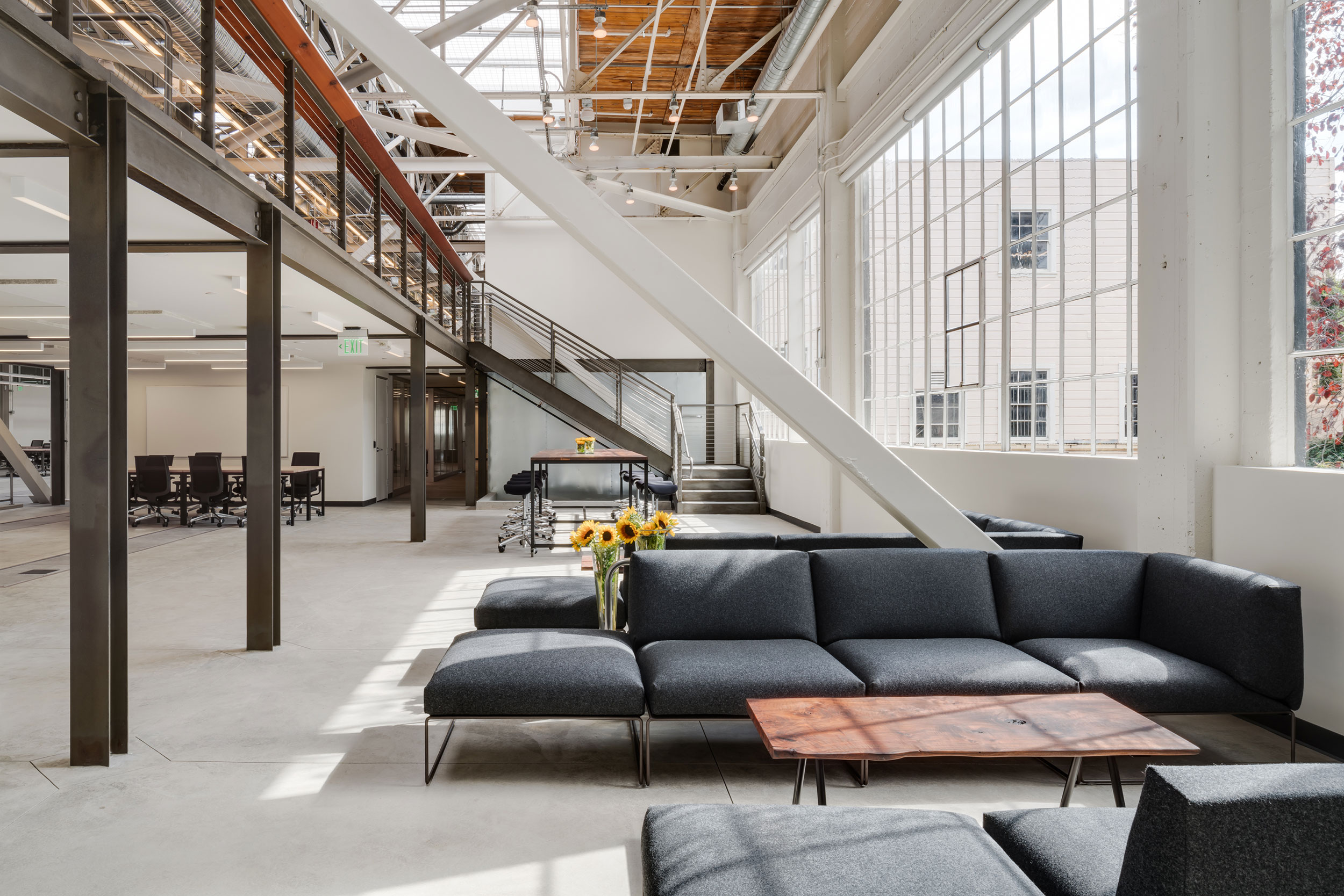 San Francisco Workplace, Office, Adaptive Reuse, Tech Company, Cafe, Natural Light, Natural Materials
