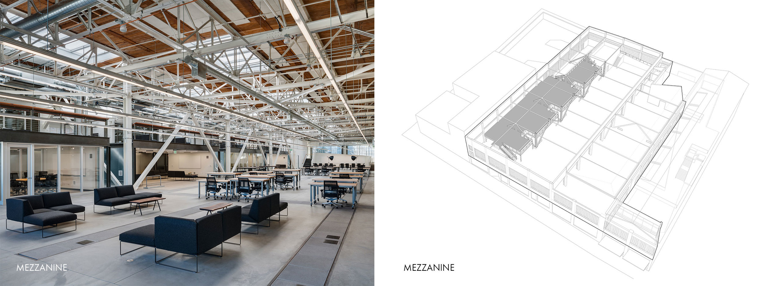 San Francisco Workplace, Office, Adaptive Reuse, Tech Company, Open Workspace, Flexible Office, Mezzanine Daigram