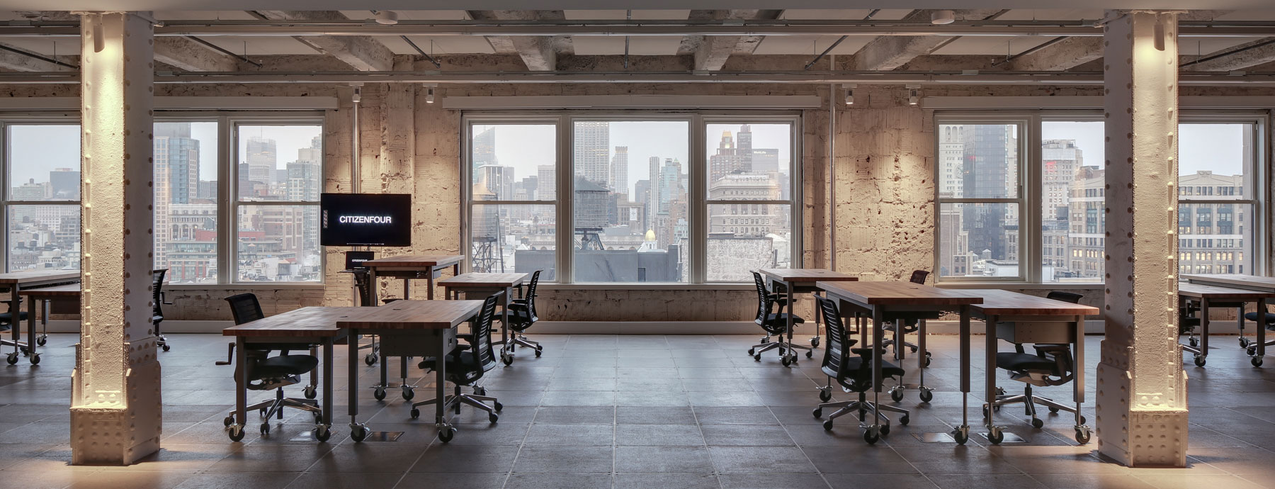 First Look Media, Landmark Building, Manhattan, New York City, Interior Architecture, Adaptable Office, Open Office, Artists Studio