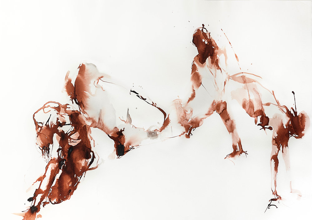 Dancing In Red, 2017, watercolor ink on paper, 20h x 30w in.