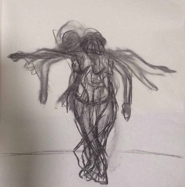 """Iris Vera Utrilla, Serie """"Danza-Líneas"""" (carboncillo sobre papel)"""