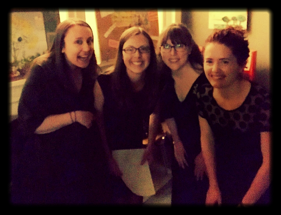 "Aella members Erin, Jenn, Kara and Cait backstage at ""Food for Thought: A Cabaret."""