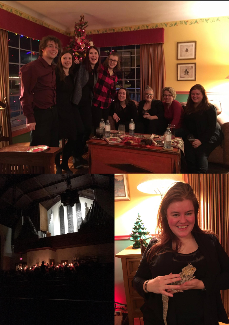 (Top) Group shot at the Aella Christmas party;  (Bottom left) Candlelight carols at FBC's Lessons and Carols service; (Bottom right) Aella chorister Jen with Rex, the bearded dragon!
