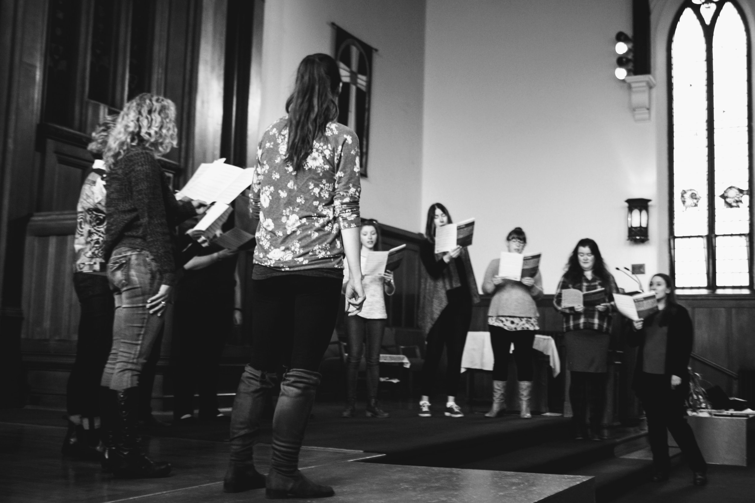 Rehearsing at First Baptist Church. Photo Credit: Jasmine Stairs