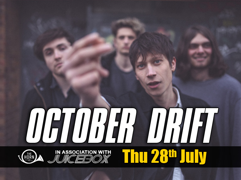 """OCTOBER DRIFT ( https://www.facebook.com/octoberdrift ) 'Selling out some of the best small venues in Britain thanks to a flourishing reputation for live shows' – The Independent  'Sugar coated power-rock' – Q Magazine  'Bellowing bluster of guitars and thumping instrumentation that should act as a vehement and fully-charged bridge in to wherever they might head next' – Gold Flake Paint  When October Drift appeared at the start of 2015 with their beefy yet melodic sound, they had the confidence to win over all audiences.  Ever since then, from multiple sold out tours up and down the UK, to growing online hype around their sparse but eloquent releases, they've done just that, becoming a major success story on the independent circuit.  Despite the early success of their incendiary debut singles – receiving support from Steve Lamacq, John Kennedy and Q magazine to name but a few - and string of sold-out gigs, this band still remain something of an enigma.  October Drift's music is similarly ambiguous, characterised by their signature wall of sound guitars, soaring, ponderous vocals and driving, urgent drums.  And while staying independent and playing every town and city that will have you isn't exactly the stylish thing to do in 2016, October Drift's irresistible combination of feedback and harmonies deserves to shake every room in the country.  The band have gained a reputation for delivering blistering, high-energy live shows. Indeed, their first tour sold out before even releasing their first single, such is the buzz around their live performances.  With shows at BBC6 Music Festival, Dot to Dot, Tramlines and Camden Rocks already under their belts alongside a cult fan base spreading the word, and a focus too few peers in their position possess, the immediate future is very bright (and very loud).  'Brooding, personally-etched song writing' – Clash  """"A distinct lack of social media presence made sure early cuts were shrouded in a sense of mystique, serving only to he"""