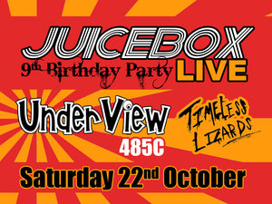 Join us to celebrate 9 years of putting on live music events in Hertfordshire with some specially invited acts!    Come and join us and celebrate 9 years of live music and for winning Best Independent Promoters in the UK at the Live Music Awards!!!    UnderView   UnderView are an Indie-Rock band from Hemel Hempstead. They played the very first Juicebox show and despite a few line-up changes over the years they always put on a great show. Think bands like Arctic Monkeys, The Hives, QOTSA and Foo Fighters.    485C   These 5 guys from East London signed to Fierce Panda first came to our attention in 2015 under a previous name, and have fast become one of our favourite new bands in the UK. It's not taken the likes of Steve L  amacq on BBC 6 Music to become a fan and with songs played on Radio X and Soccer AM it won't be long before they are making even bigger waves. Reminiscent of The Strokes, The Libertines, Blur and the Jesus & Mary Chain.   Timeless Lizards  Herts 5 piece band Timeless Lizards are another of the fantastic new bands coming from the local area. They finished as runners-up in the 2016 Battle of the Bands at The Horn and have in a short time already acheived great support slots and played numerous festivals. Influenced by the likes of Wolf Alice, Superfood, The Beatles, Foals and Peace will give you an idea of what to expect.
