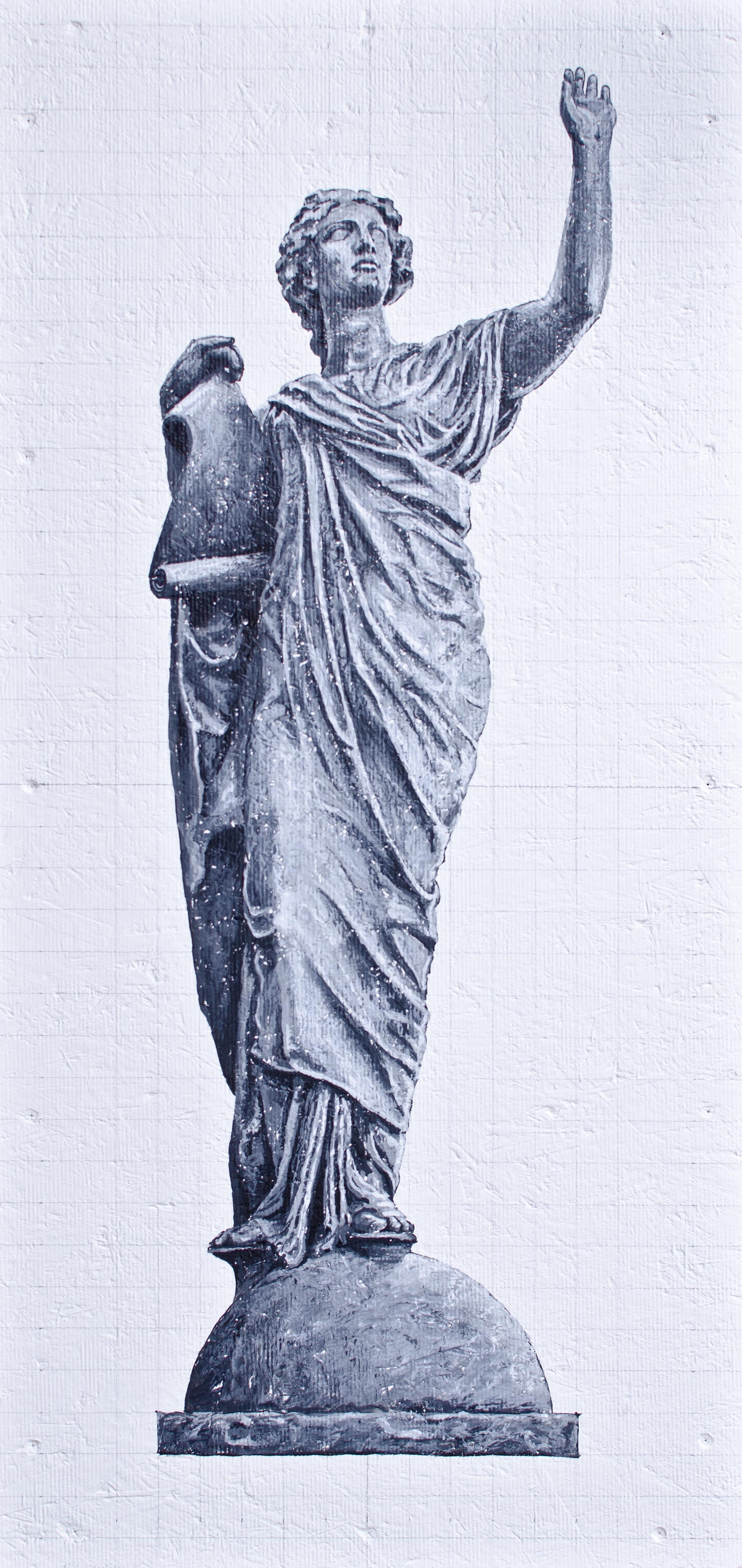 """Education/Law - She raises her arm to proclaim the laws inscribed on the scroll she holds in her left hand - 18/36"""""""