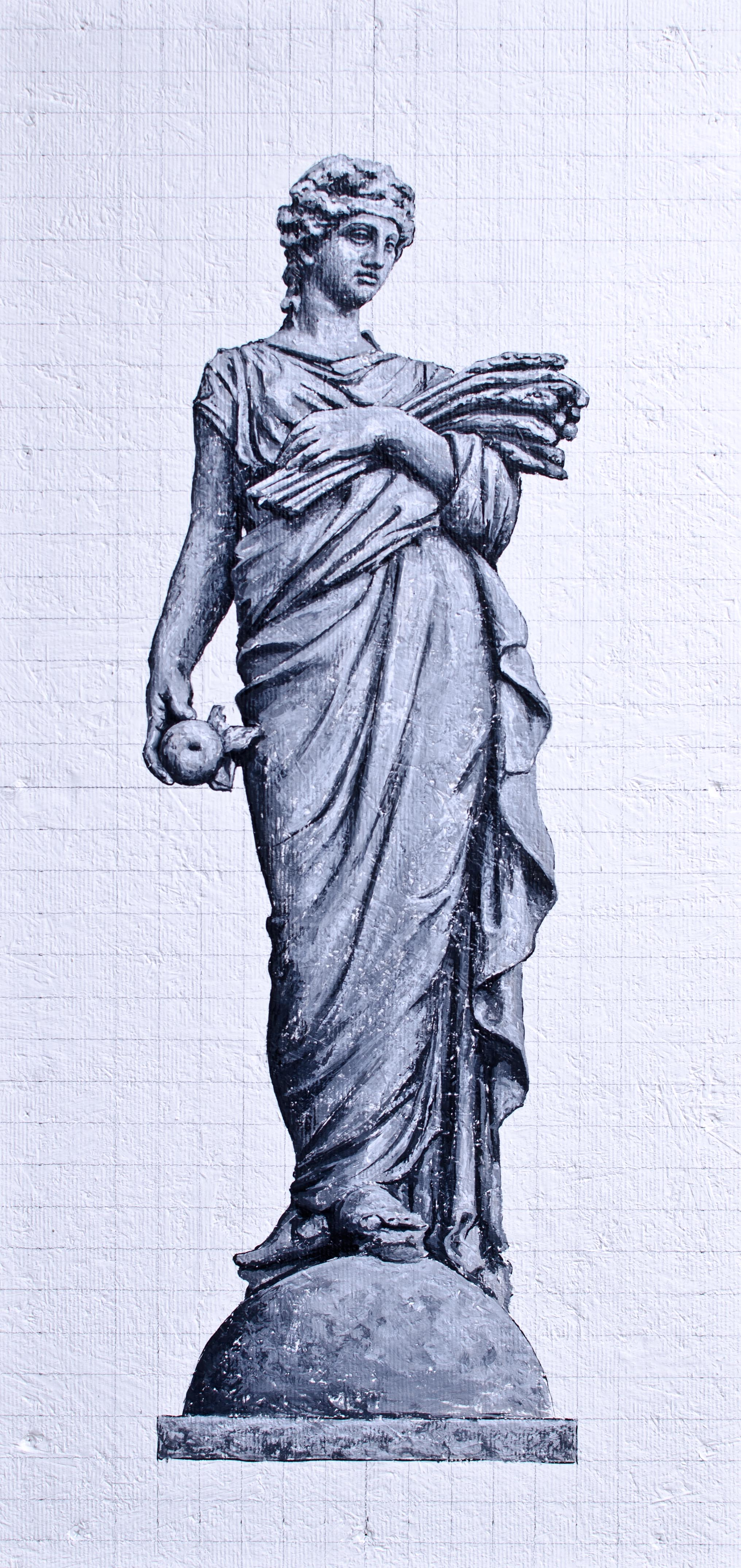 """Agriculture - Classically draped with an apple in her right hand and sheaf  wheat cradled in her left arm - 18/36"""""""