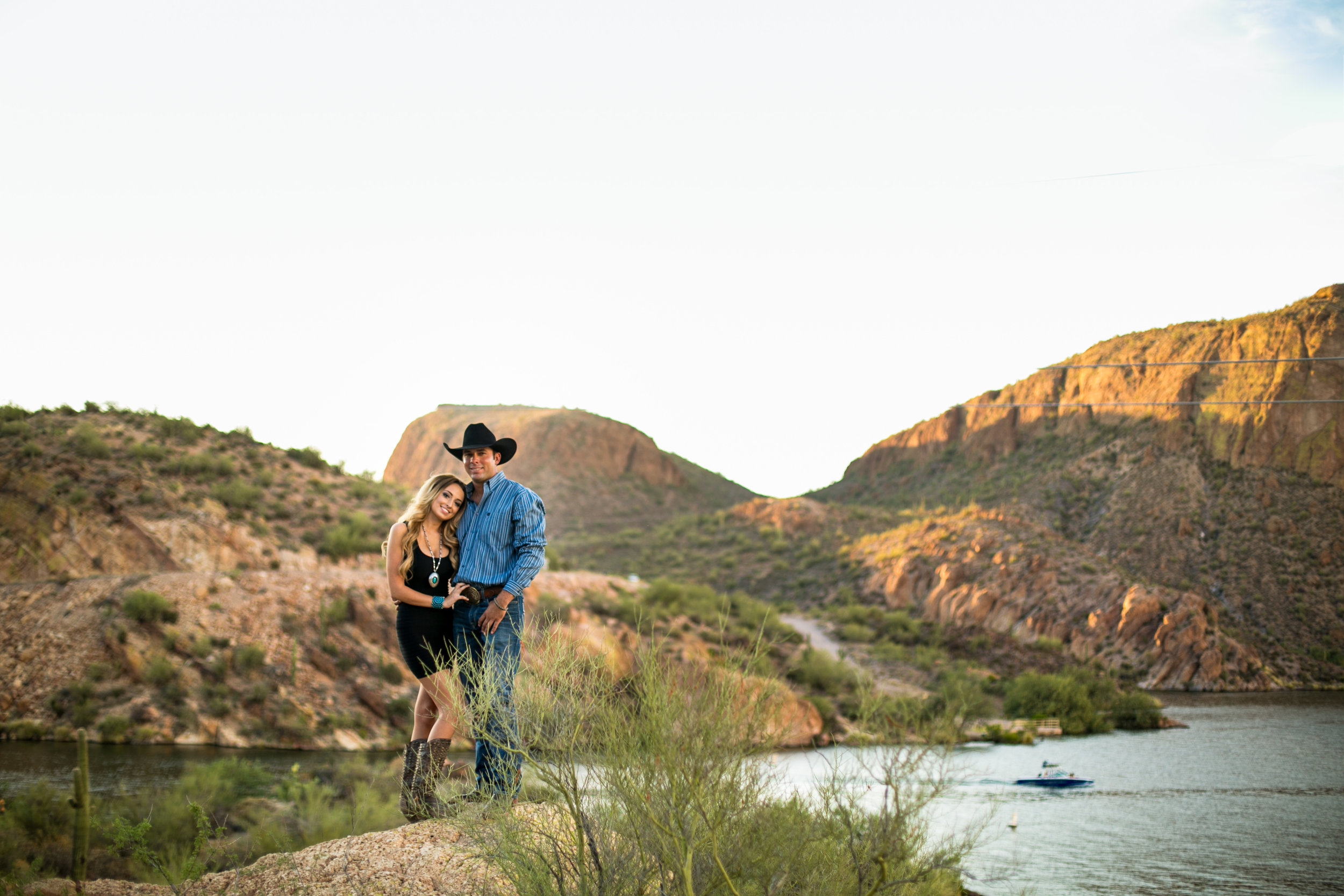Country western engagement photos at Canyon Lake in Apache Junction, Arizona