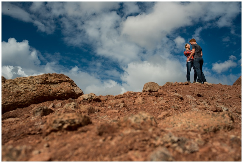 Fun adventurous engagement photography at Papago Park in Phoenix, Arizona.