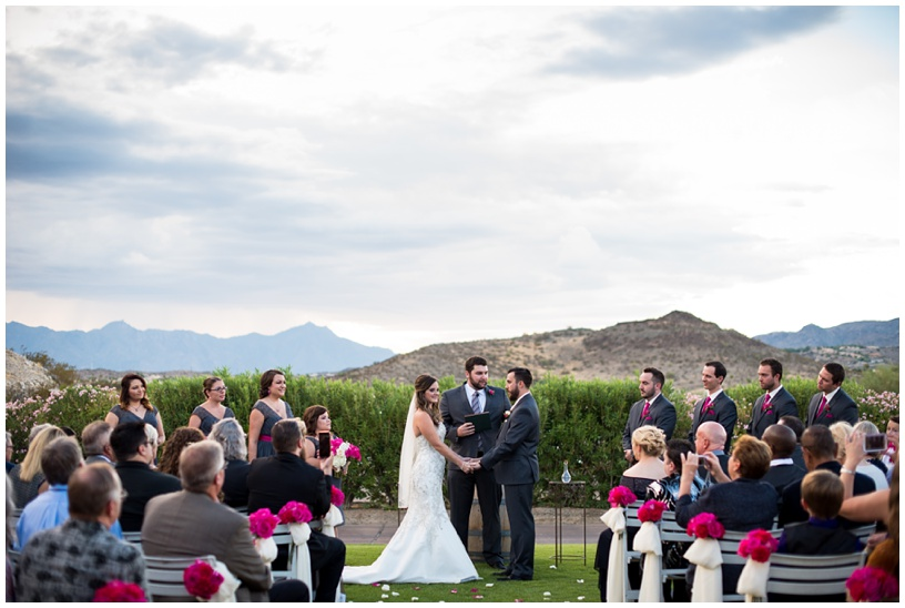 Outdoor mountain wedding ceremony at Foothills Golf Club in Phoenix, Arizona.
