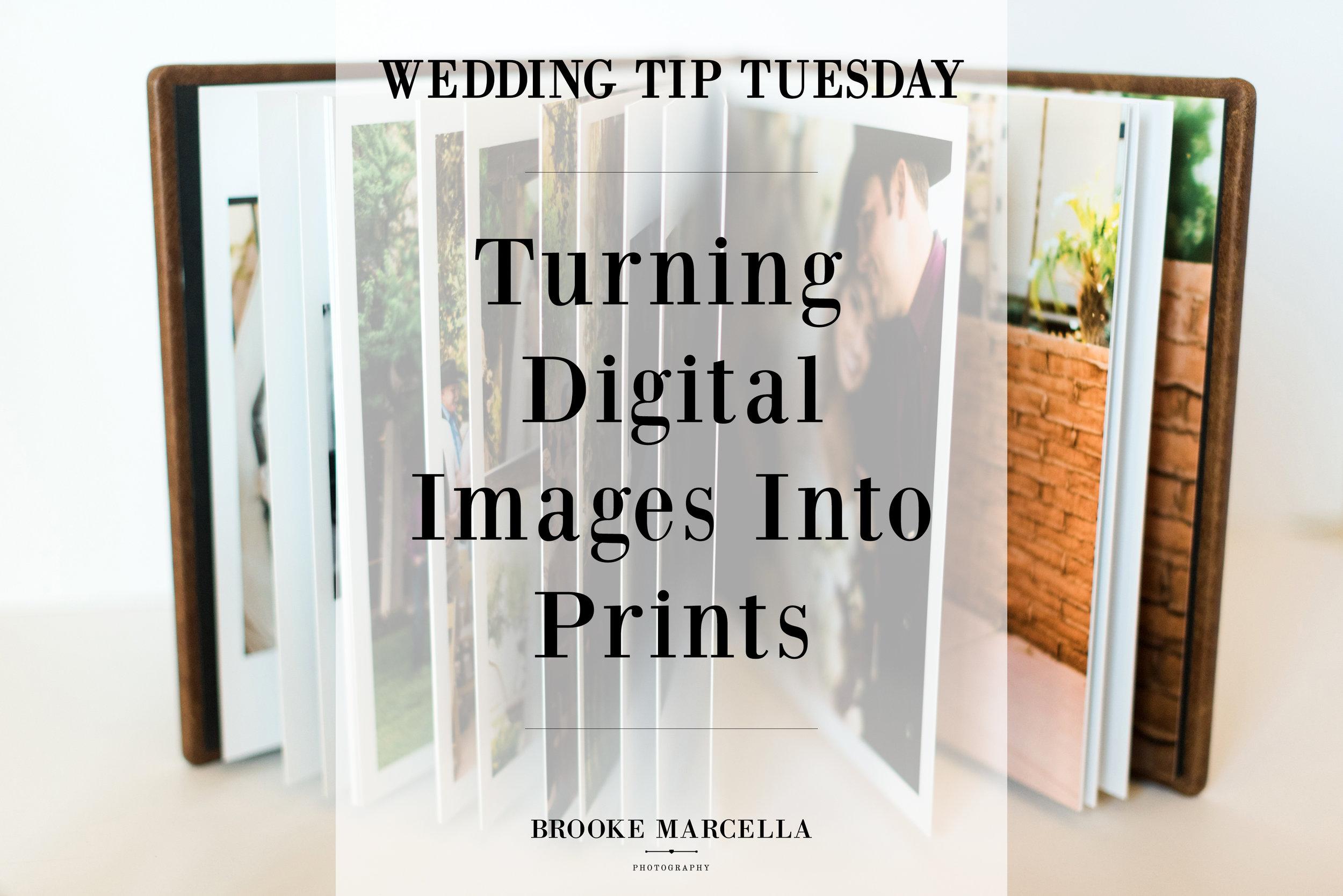 Turning digital wedding images into prints.
