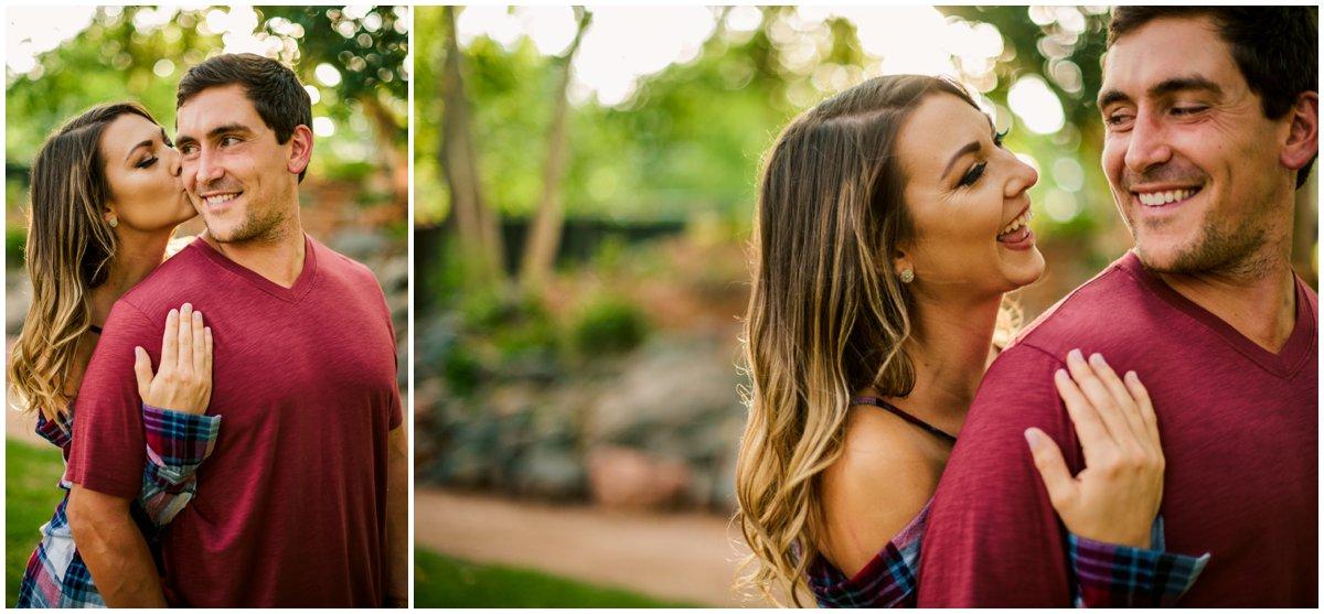 Summer Sedona Engagement Photos at Tlaquepaque and Oak Creek Canyon.