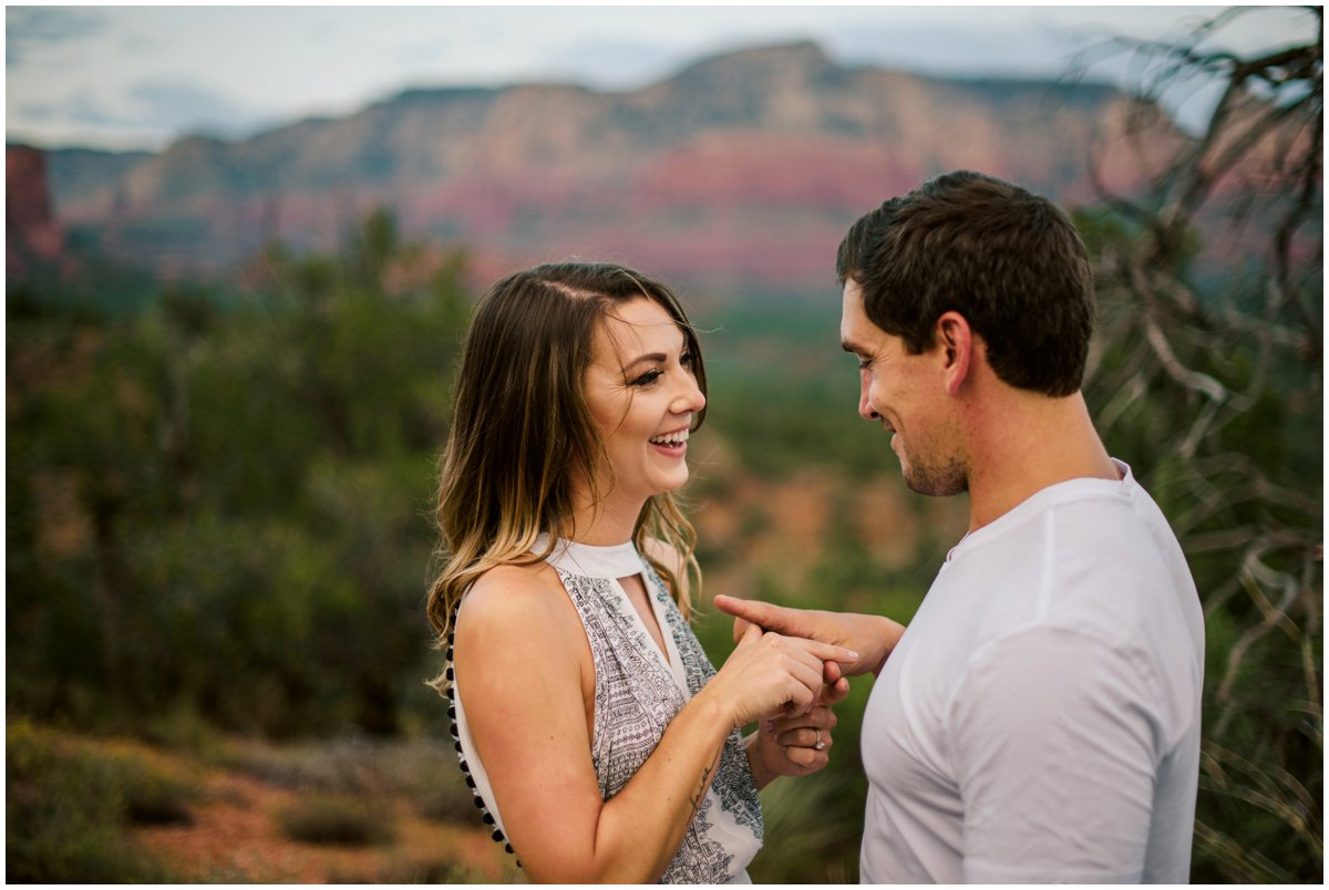 Summer Sedona Engagement Photos with Sedona Red Rock Mountains in the background.