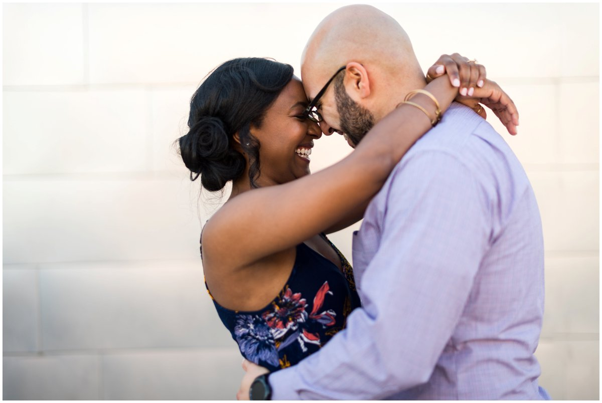 Interracial Couple Engagement Photos in Mesa at Mesa Center for the Arts.