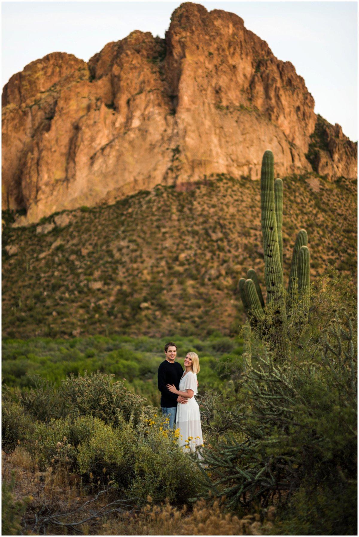 Sunset Salt River Engagement Photos in the Arizona Desert by Saguaro Lake.