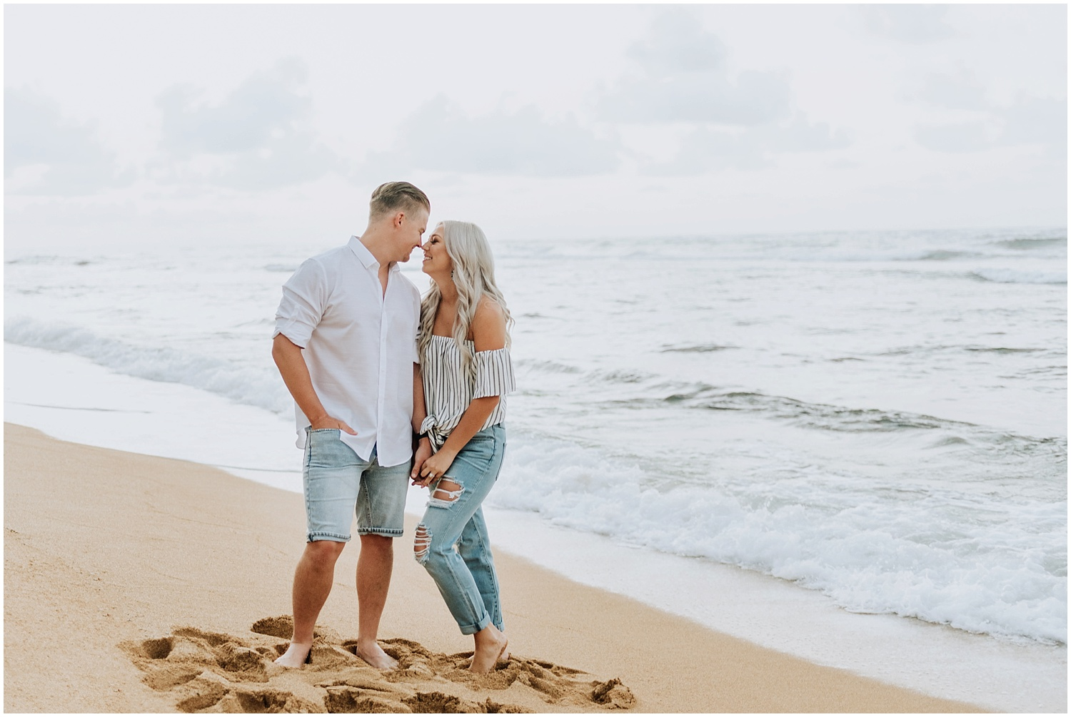 Hawaii Sunrise Beach Engagement Photos