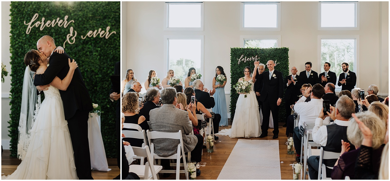 Indoor Wedding Ceremony with a Greenery Background