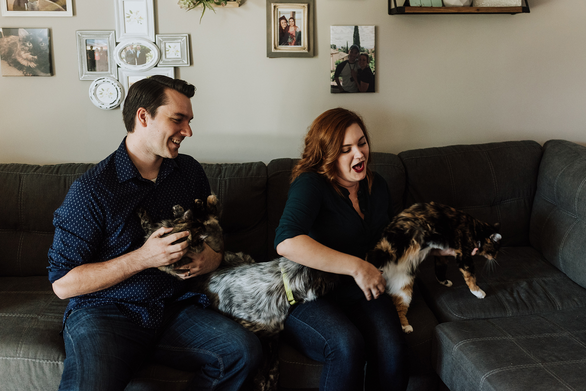 In Home Family Photos with Pets