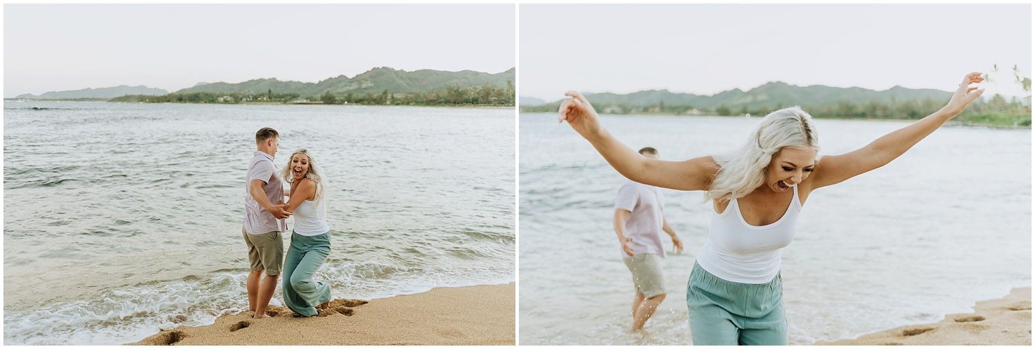 Beach Engagement Photos in the Ocean