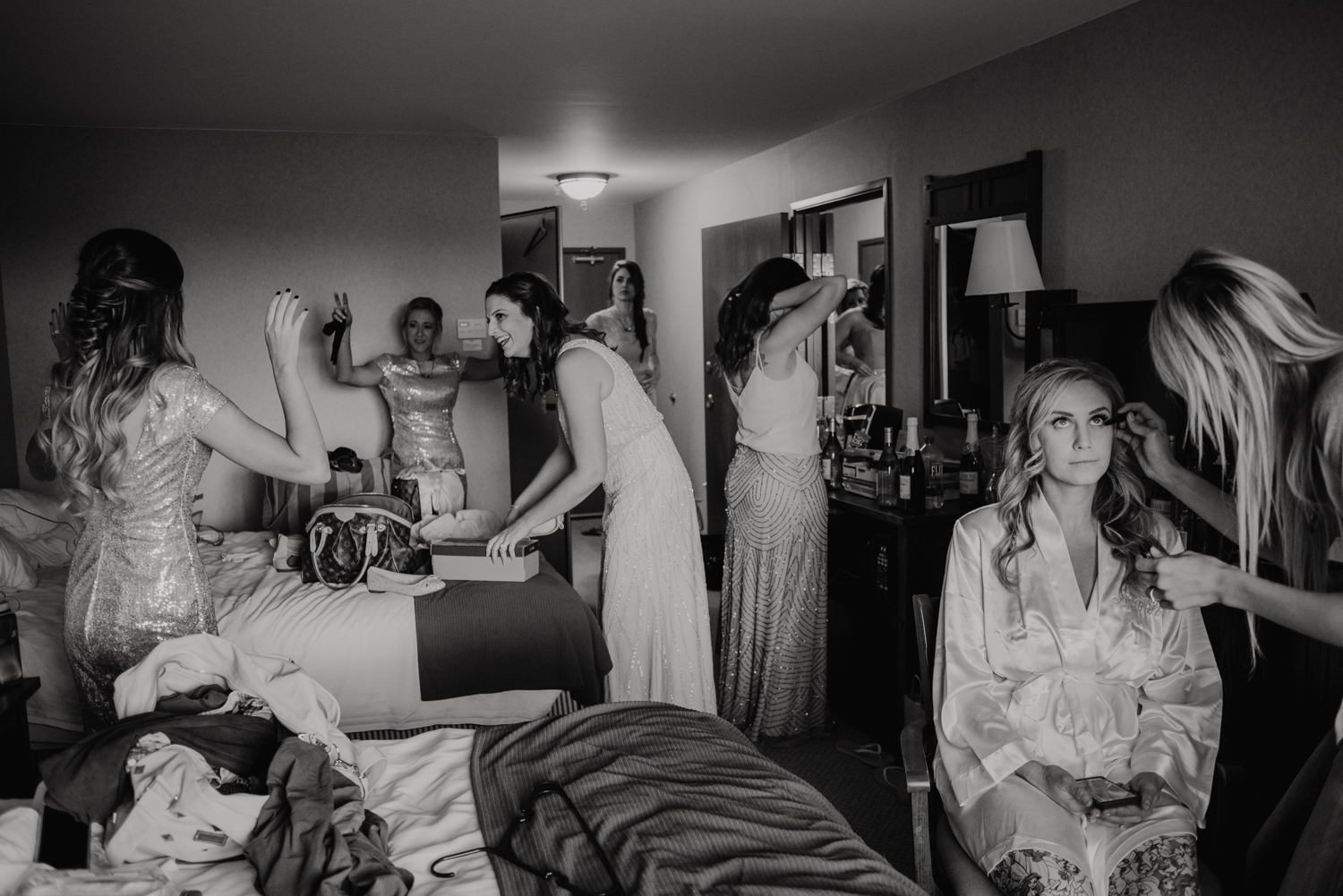 The getting ready room of the bride documented on a wedding day.