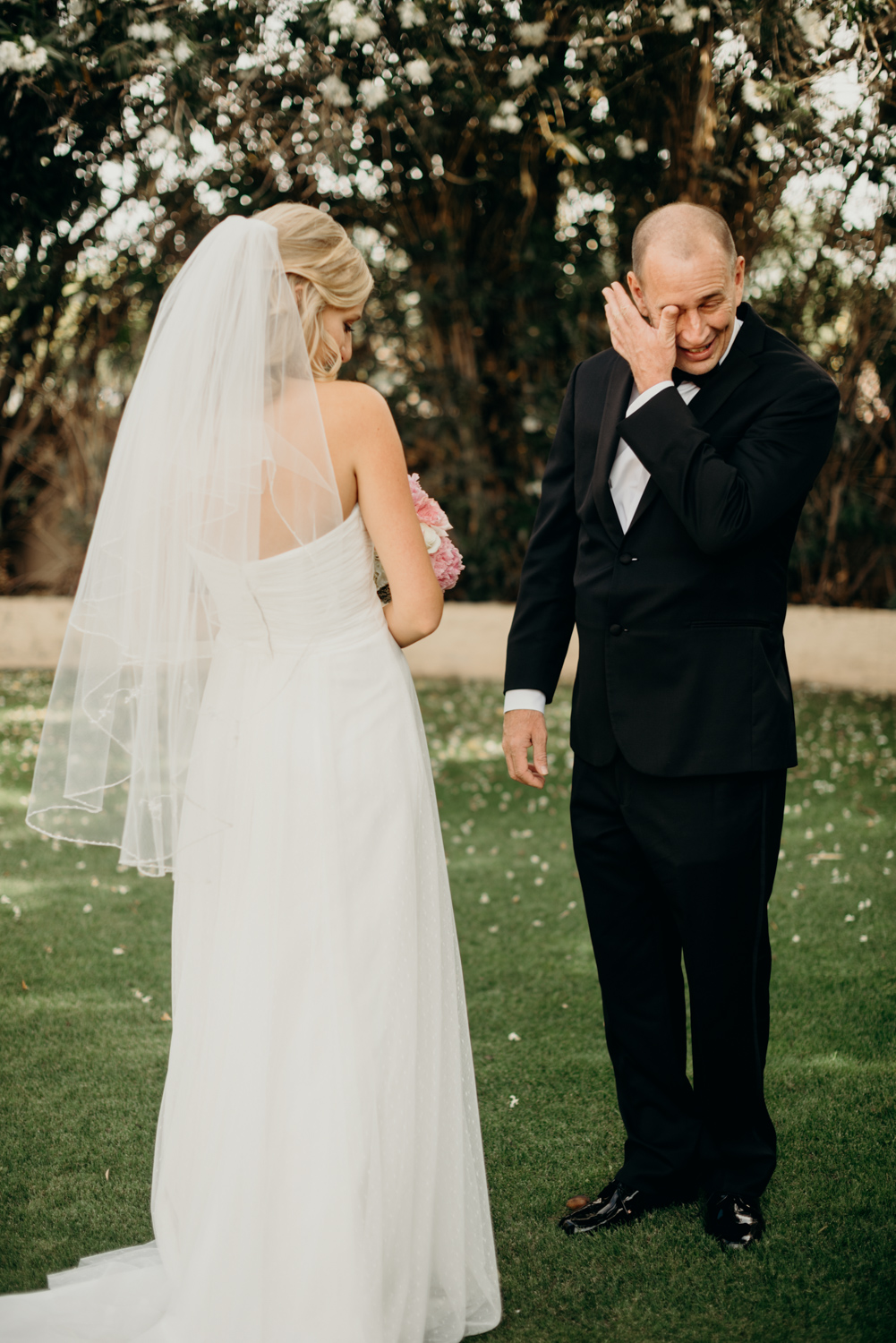 Bride's dad gets emotional when he sees his daughter on her wedding day in Gilbert, Arizona.