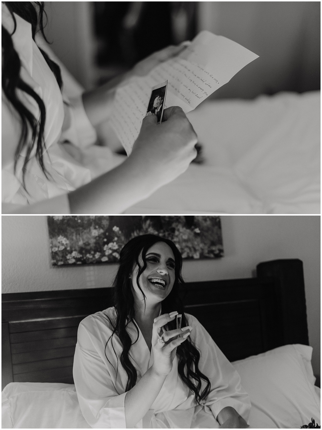 Bride reading a note from her husband before their outdoor ceremony.