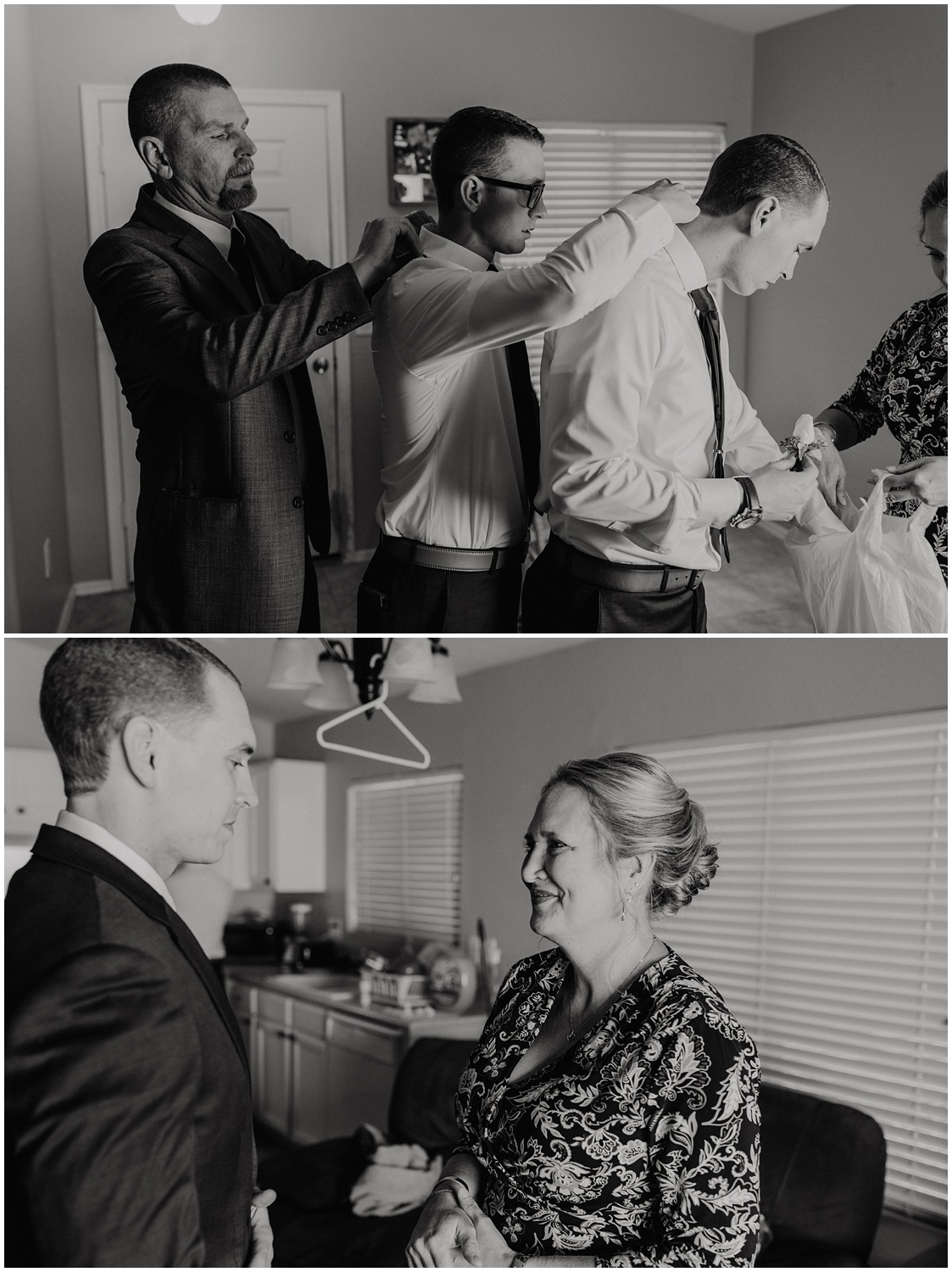 Candid moments of the Bride and groom getting ready on their wedding day.