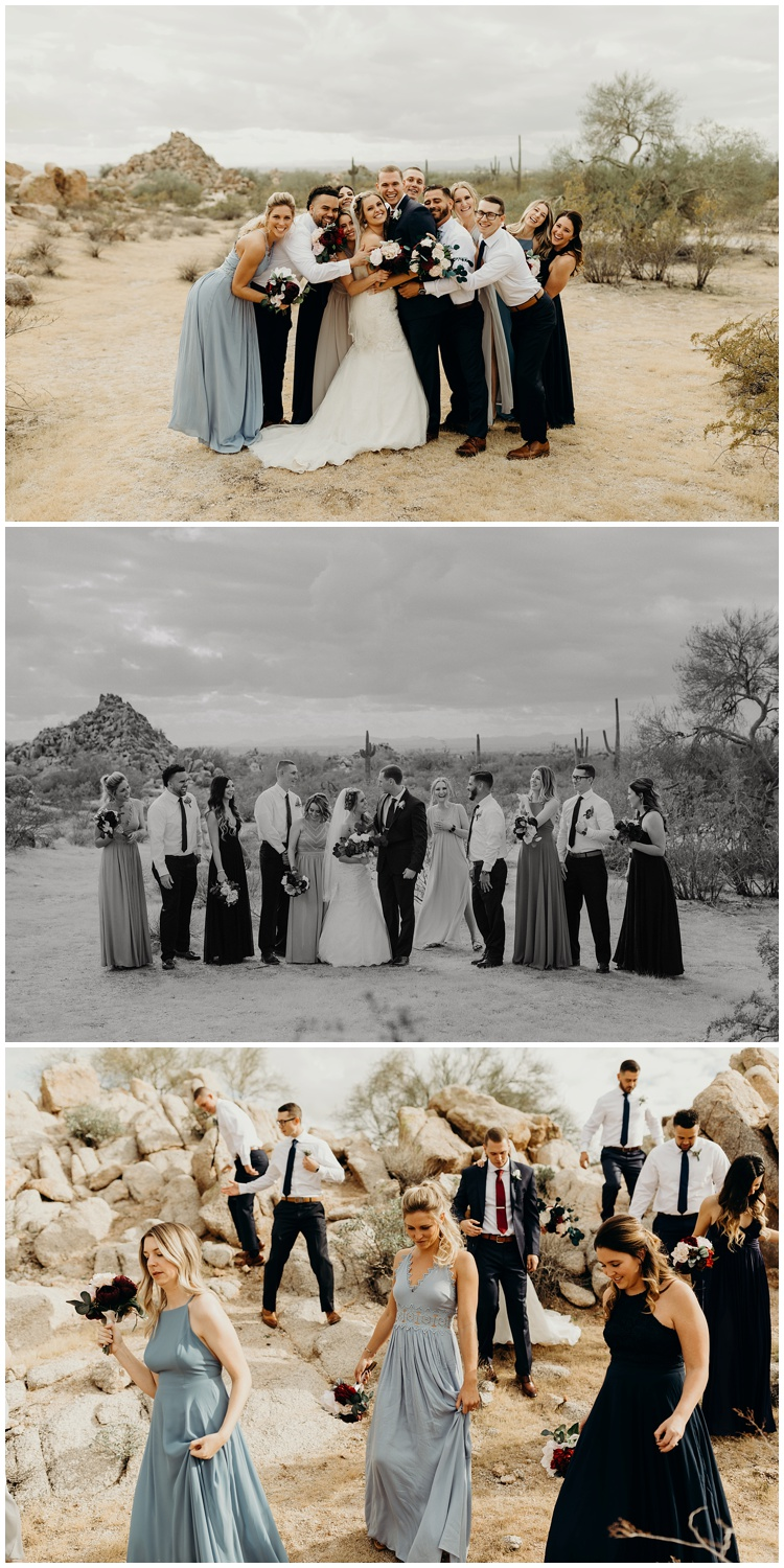 Fun photos with the wedding party in the desert.
