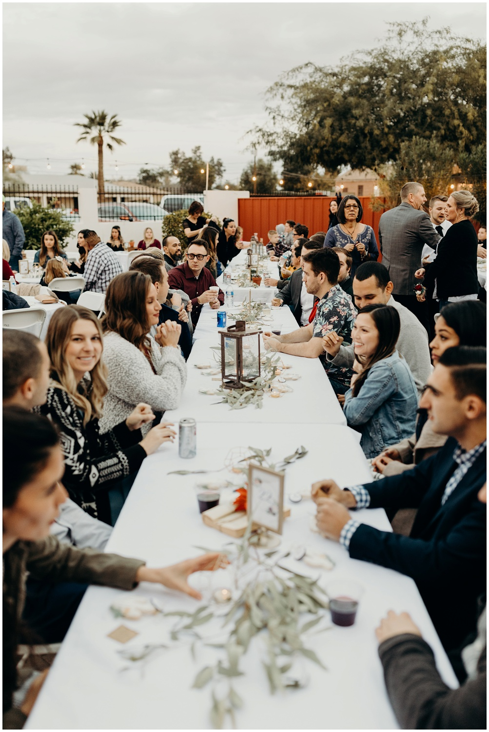 Guests gather together during the reception to share a meal.
