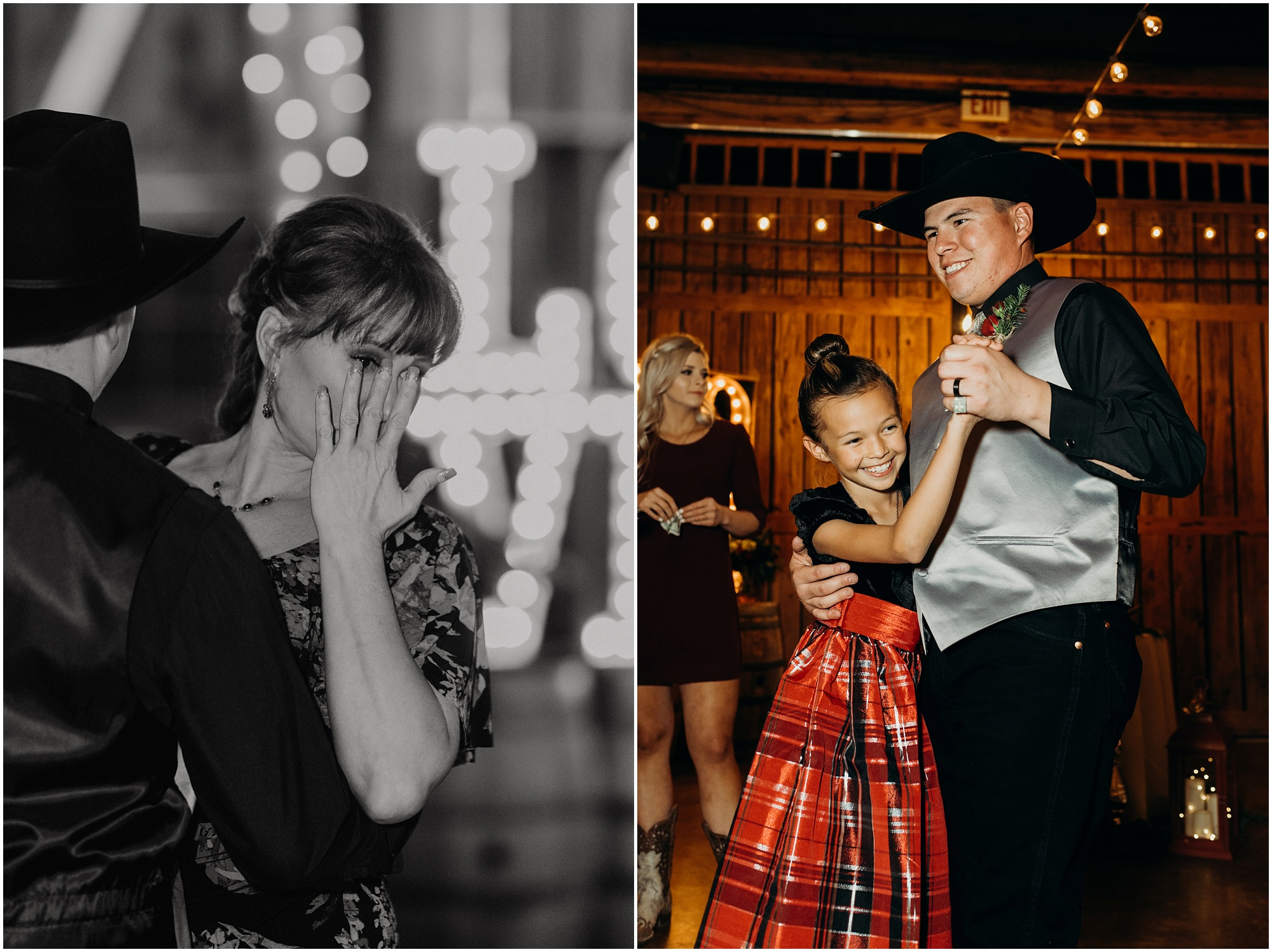 Groom has an emotional dance with his mother during a barn reception for a Country Christmas wedding.