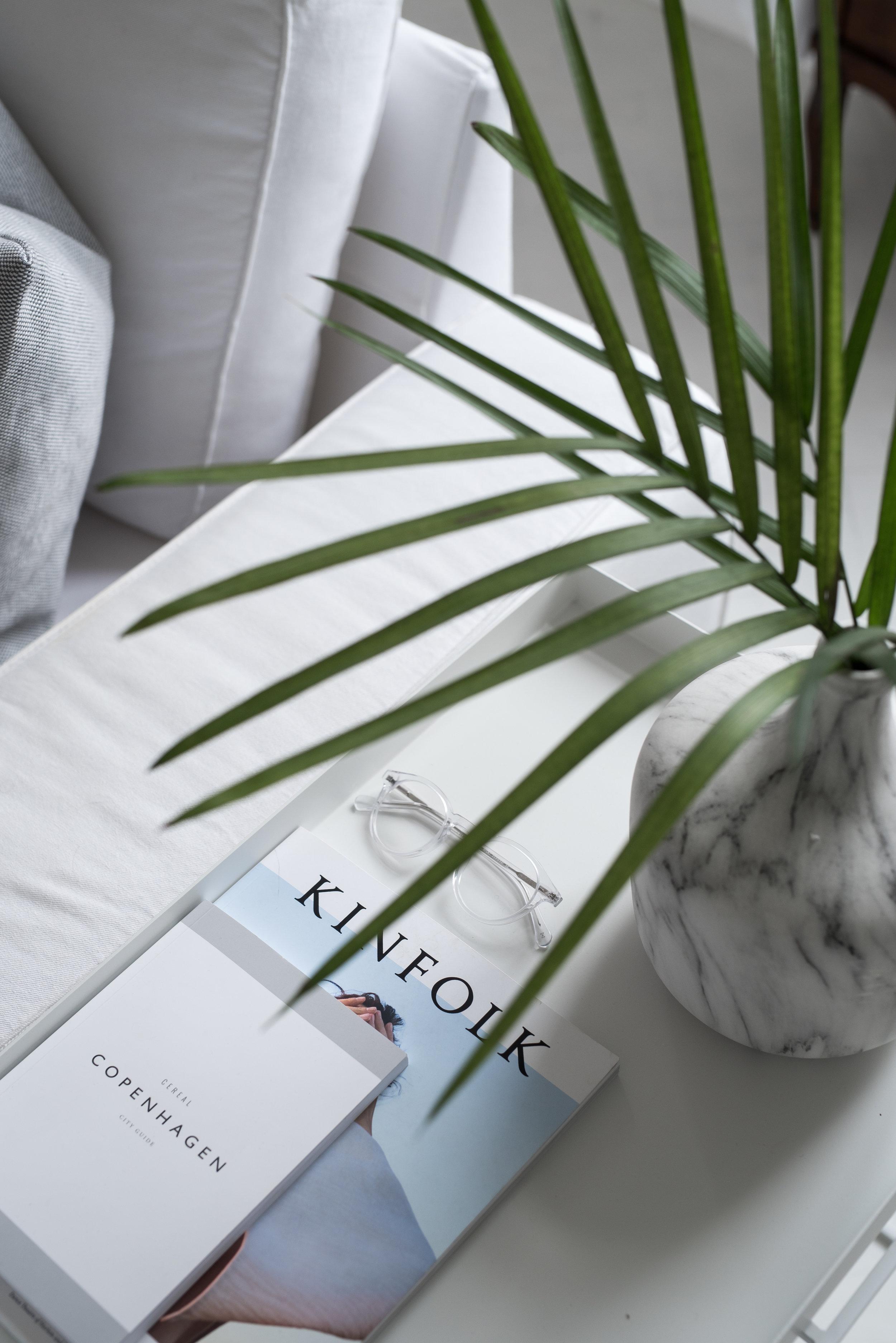 Marble Vase, Kinfolk and Eyebuydirect glasses