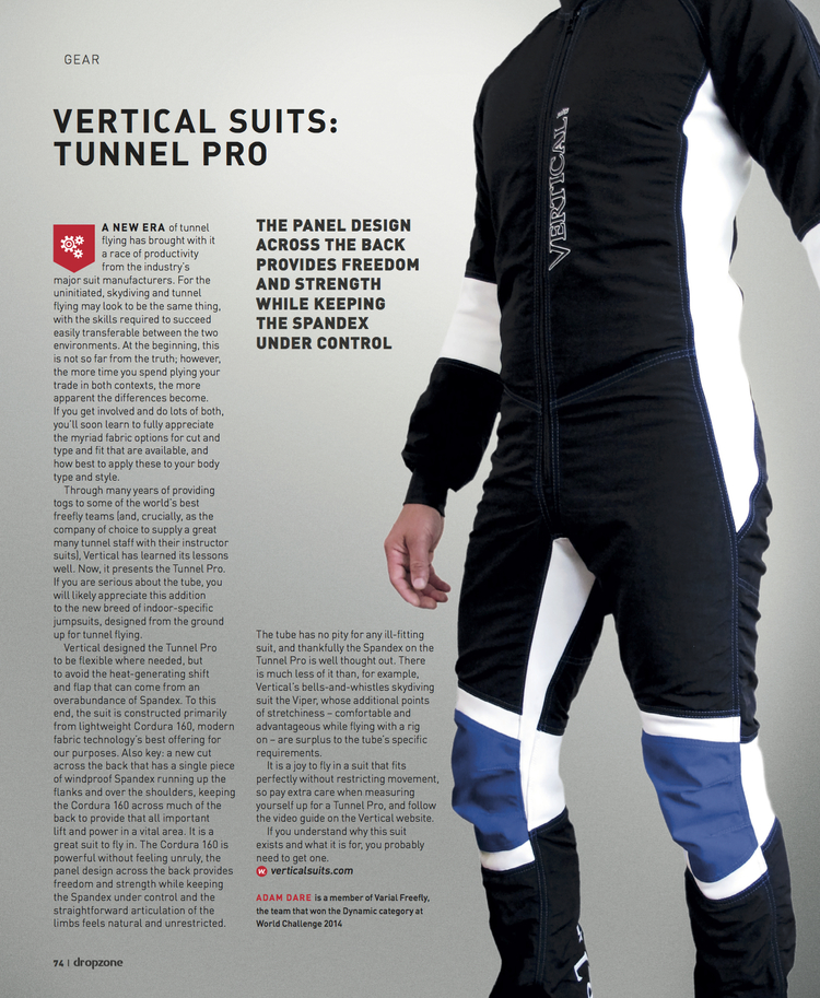 Vertical Suits: Tunnel Pro   Dropzone Magazine  September 2014