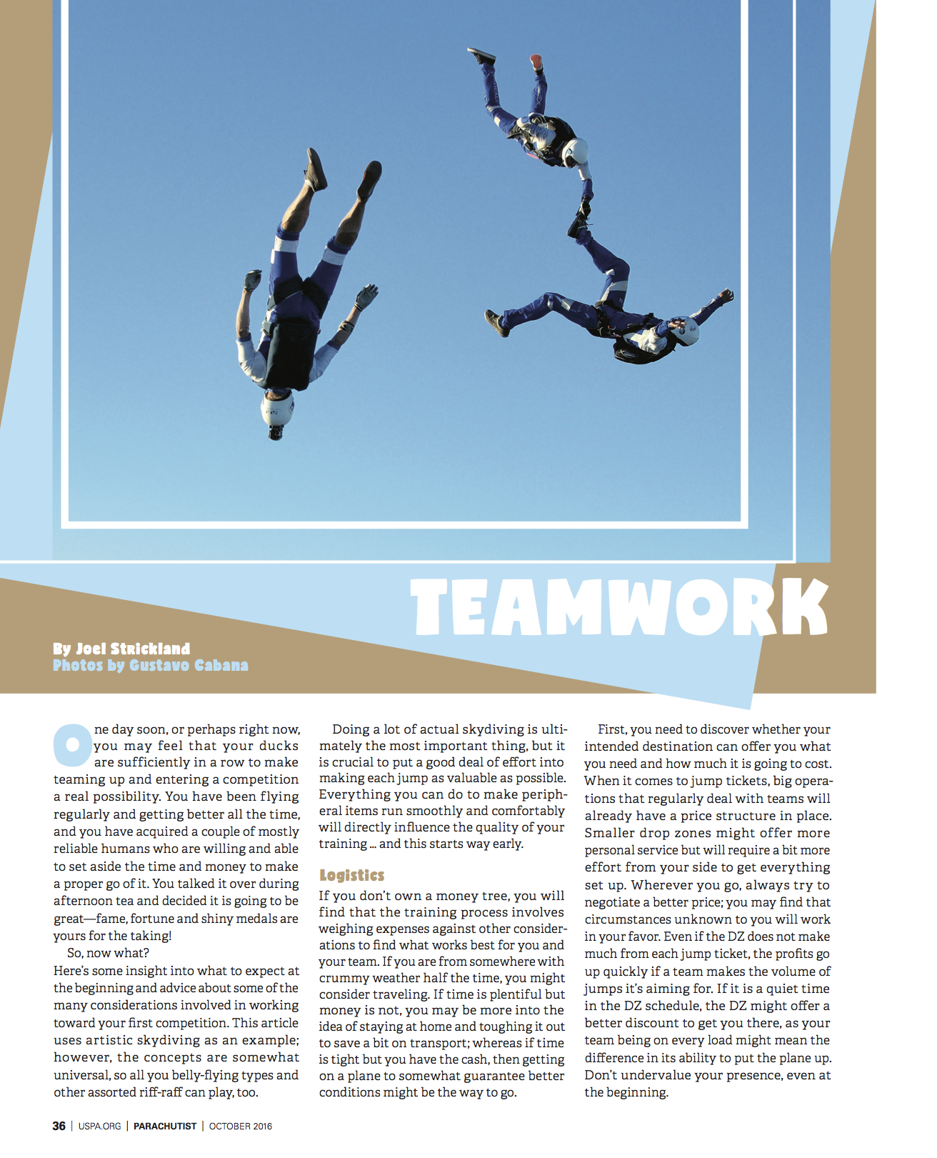 Teamwork   Parachutist  November 2016