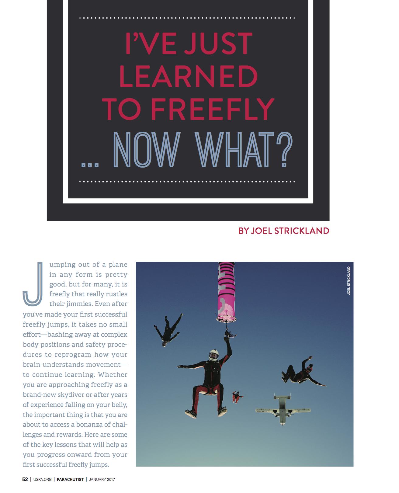 Freefly: Now What?   Parachutist Magazine  January 2017