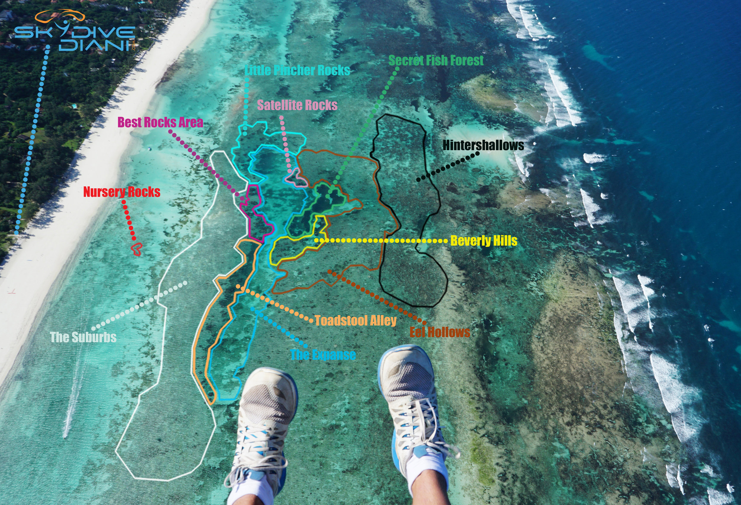 skydive diani snorkel map